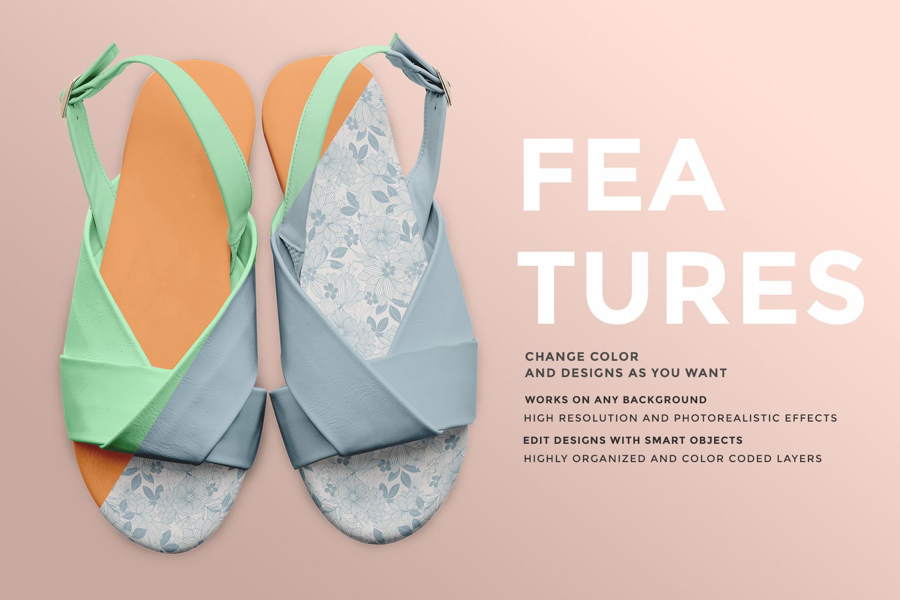 features of the women's slingback sandal mockup