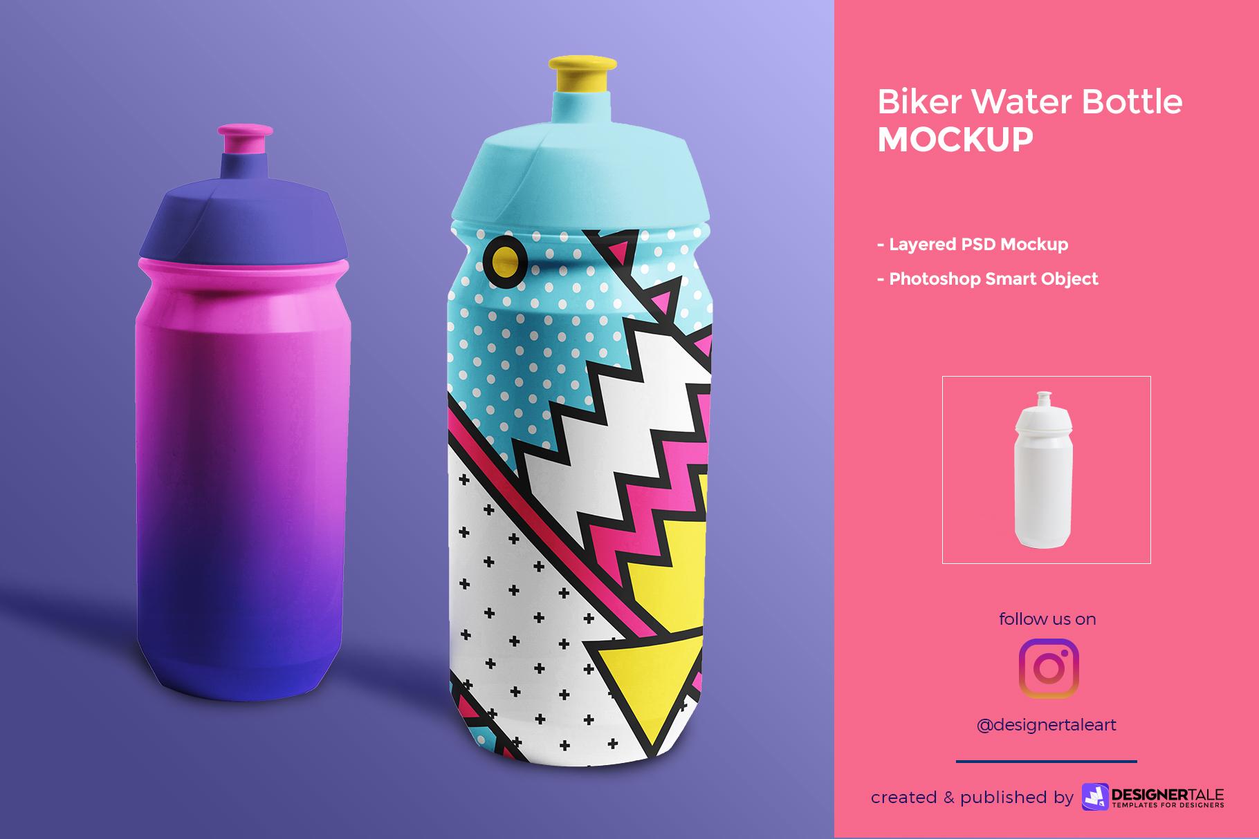 biker water bottle mockup