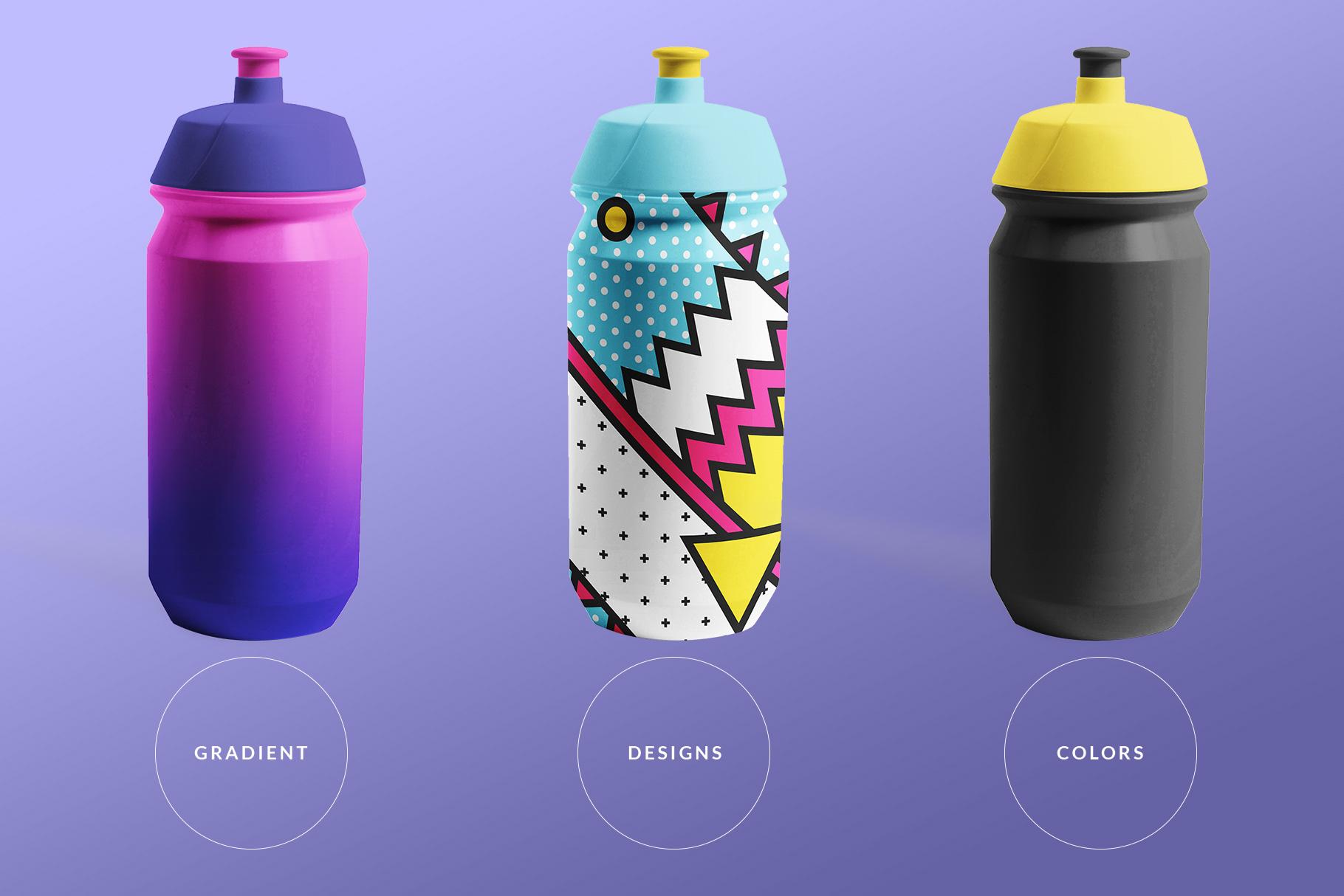 types of the biker water bottle mockup