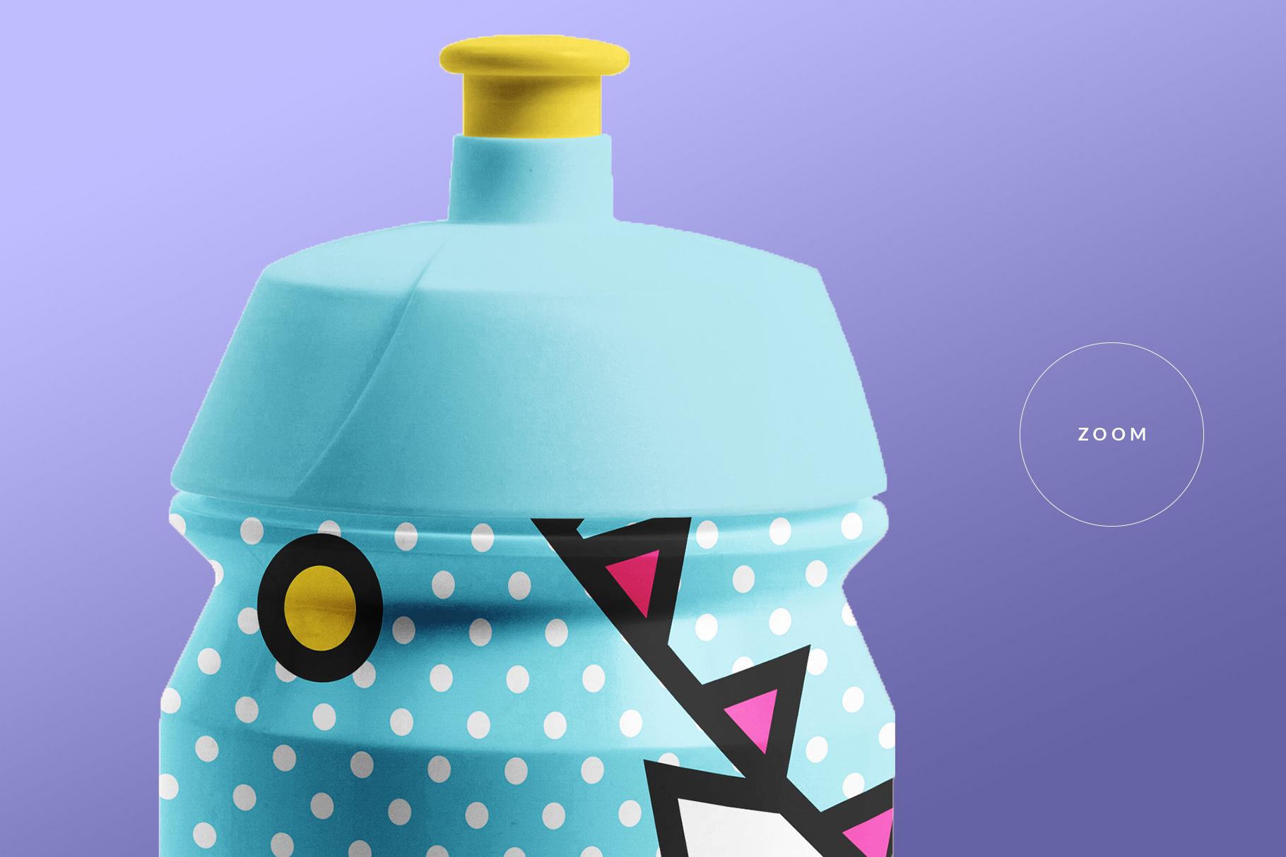 zoomed in image of the biker water bottle mockup