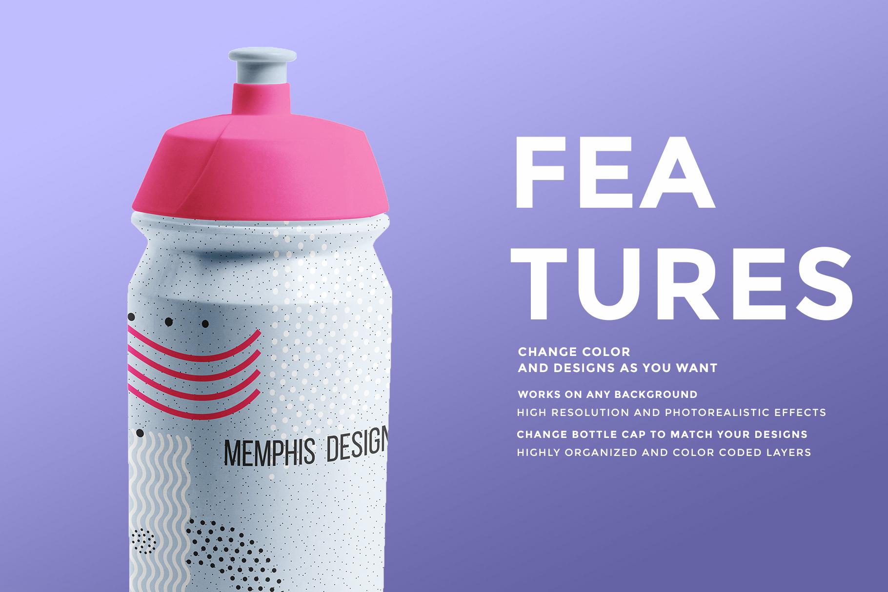 features of the biker water bottle mockup