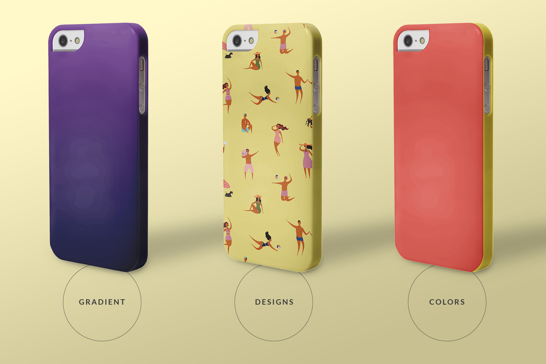 types of the iphone snap backcase mockup