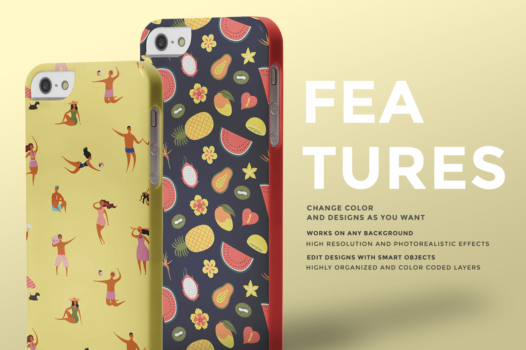 features of the iphone snap backcase mockup