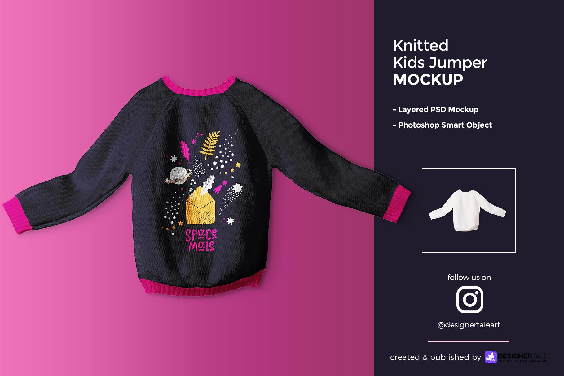 knitted kids jumper mockup