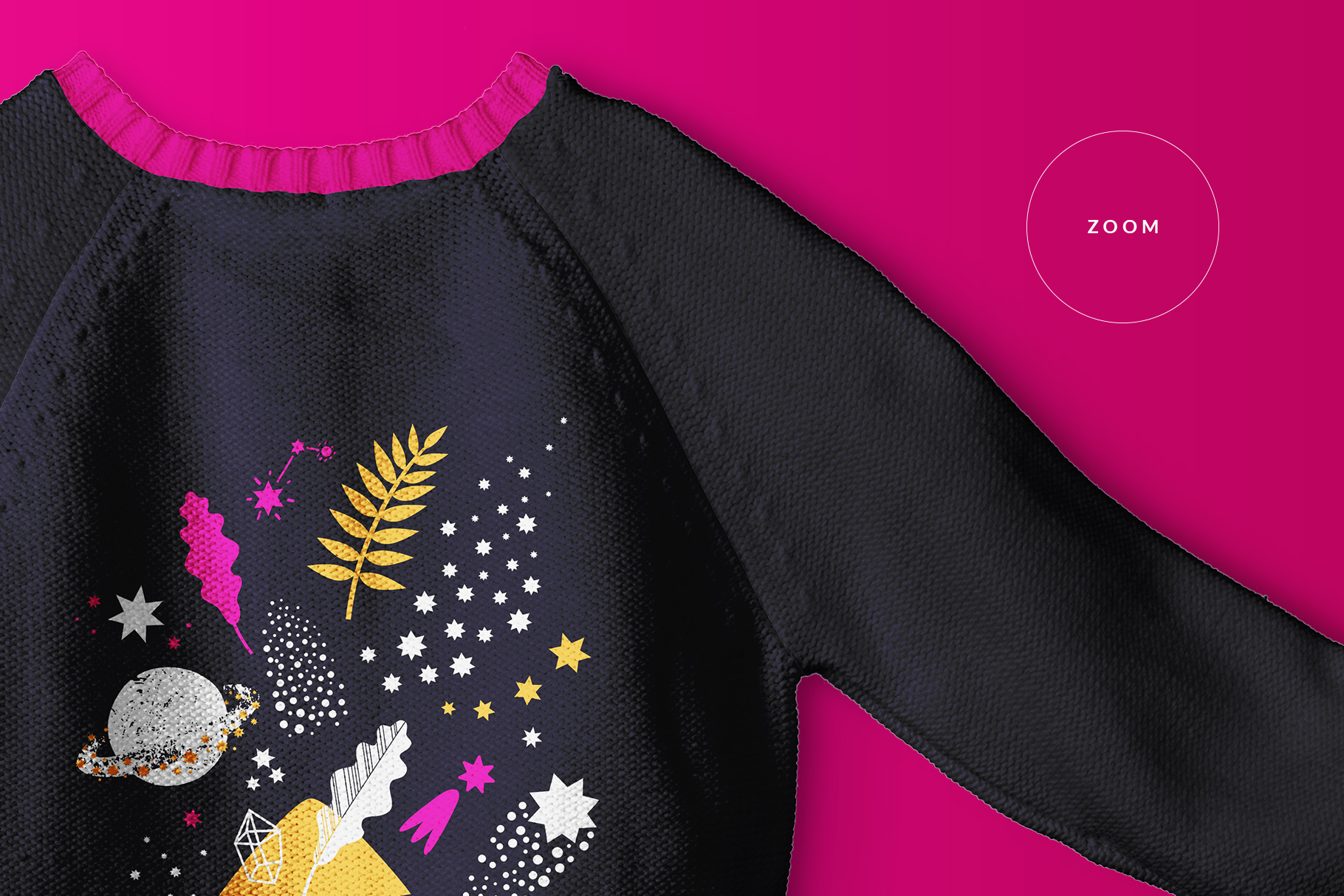 zoomed in image of the knitted kids jumper mockup