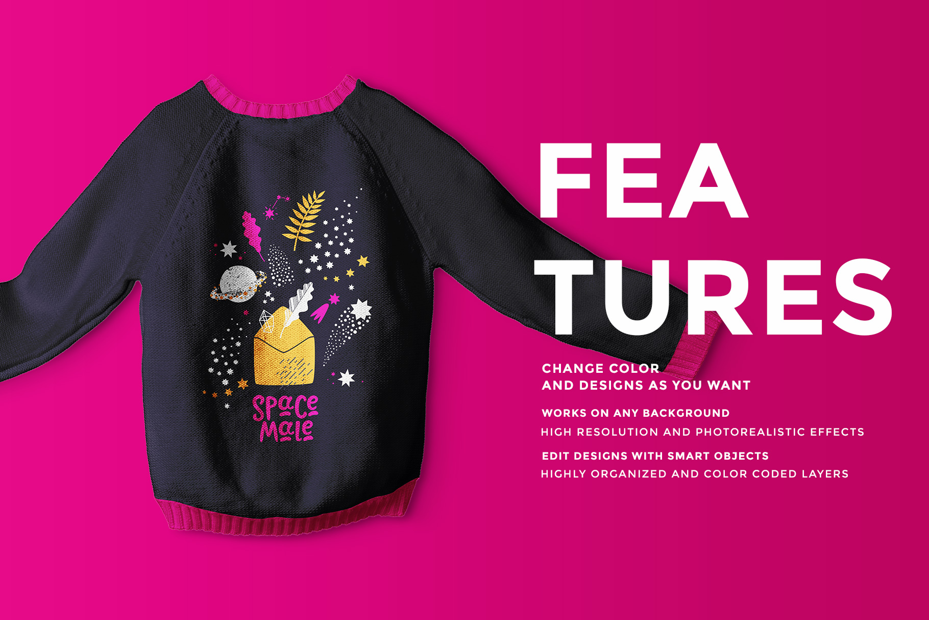 features of the knitted kids jumper mockup
