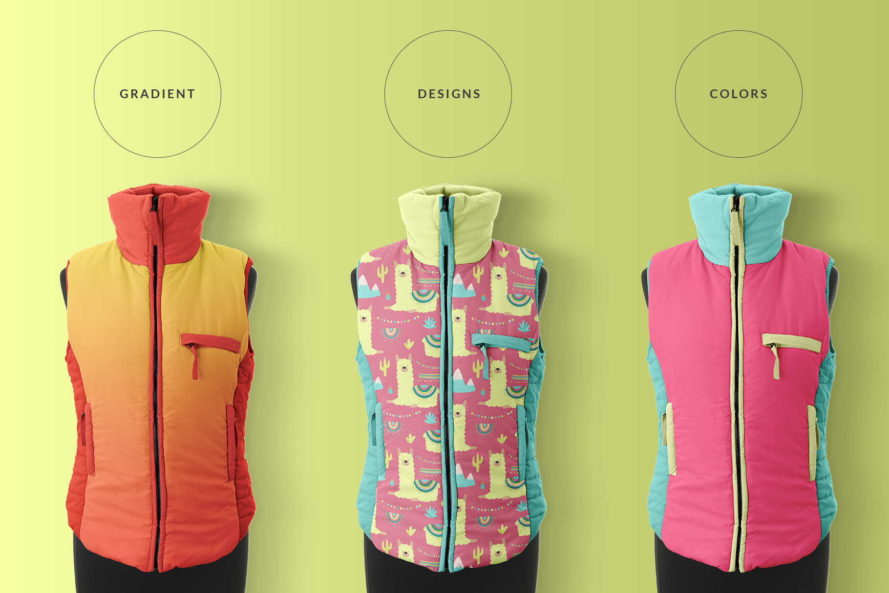 types of the Winter is incomplete without a jacket, so it is showcasing wintery or festive patterns. This women's sleeveless winter jacket mockup is a perfect fit to showcase your pattern designs. This women's sleeveless winter jacket mockup is cute, trendy, edgy, and suitable loaded with smart features. The female sleeveless fluffy jacket is a turtle neck. This jacket mockup is a front-view and comes with a manikin option too. This sleeveless winter jacket is high resolution and has very photorealistic effects to make it a collective item. Smart-objects and color-coded layers also save you valuable time. Features: Artboard resolution: 6000 x 4000 pixels. Editability: Color & design changeable. Image quality: 300dpi. Layers: Organized, Smart object. No. Of PSD files: 1 Note: The patterns used in the presentation are not included in the main file. We are very thankful to BunnyBoo for providing us these amazing patterns. To download the patterns used in this mockup please check the link Hand-drawn llama collection. You can check more patterns on BunnyBoo.
