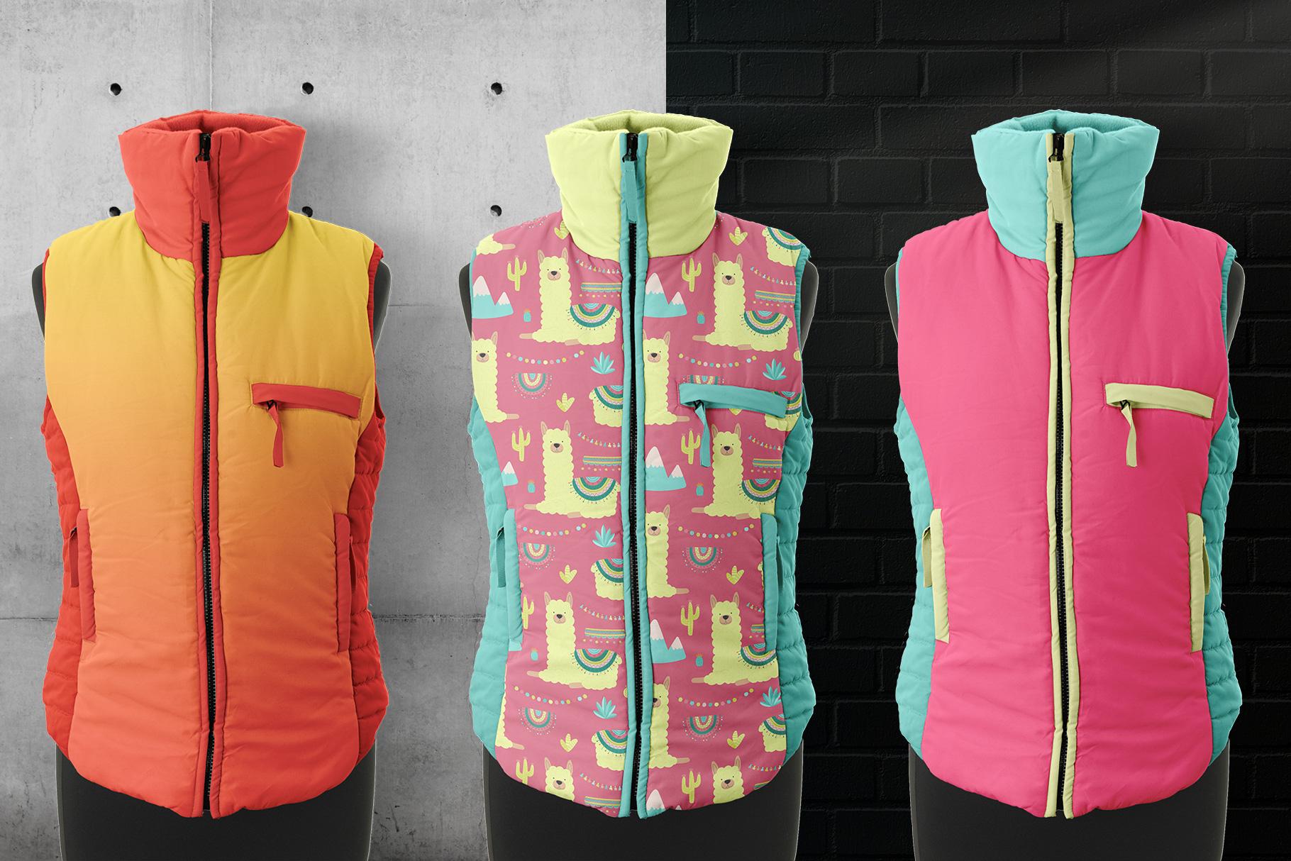 background options of the women's sleeveless winter jacket mockup