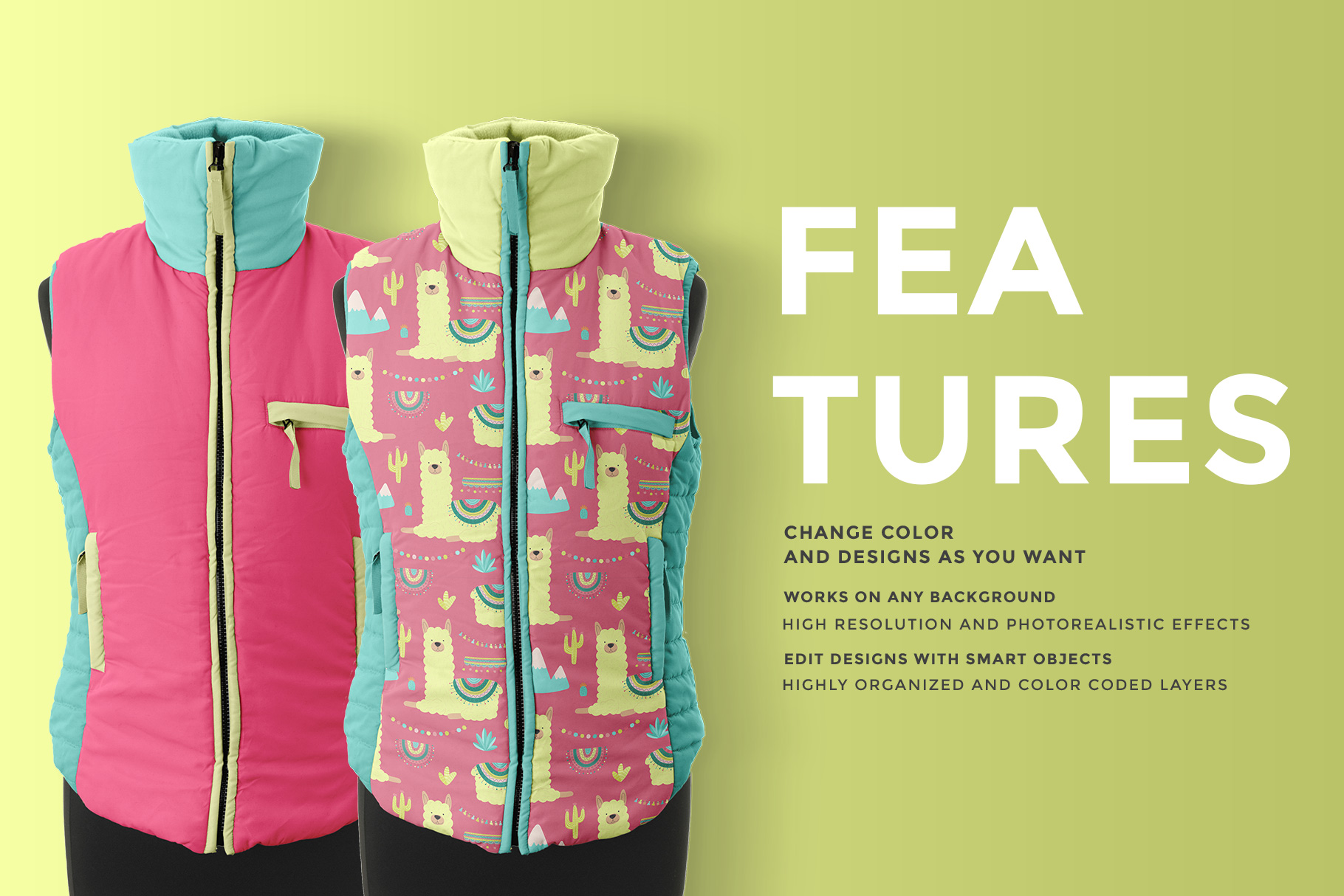 features of the women's sleeveless winter jacket mockup