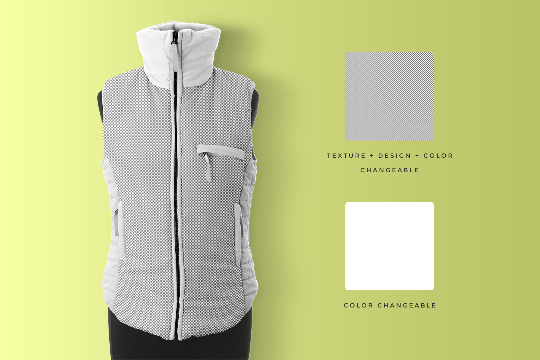 editability of the women's sleeveless winter jacket mockup