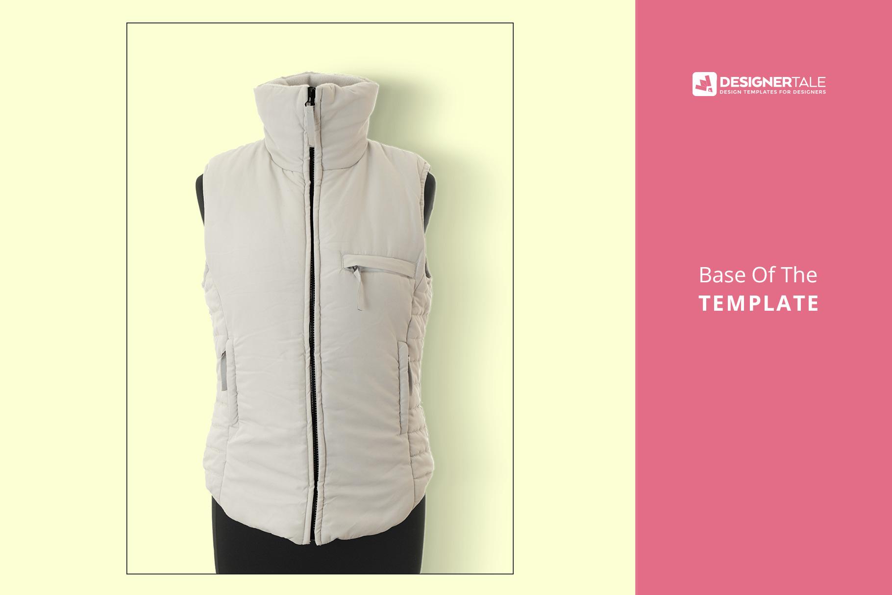 base image of the women's sleeveless winter jacket mockup