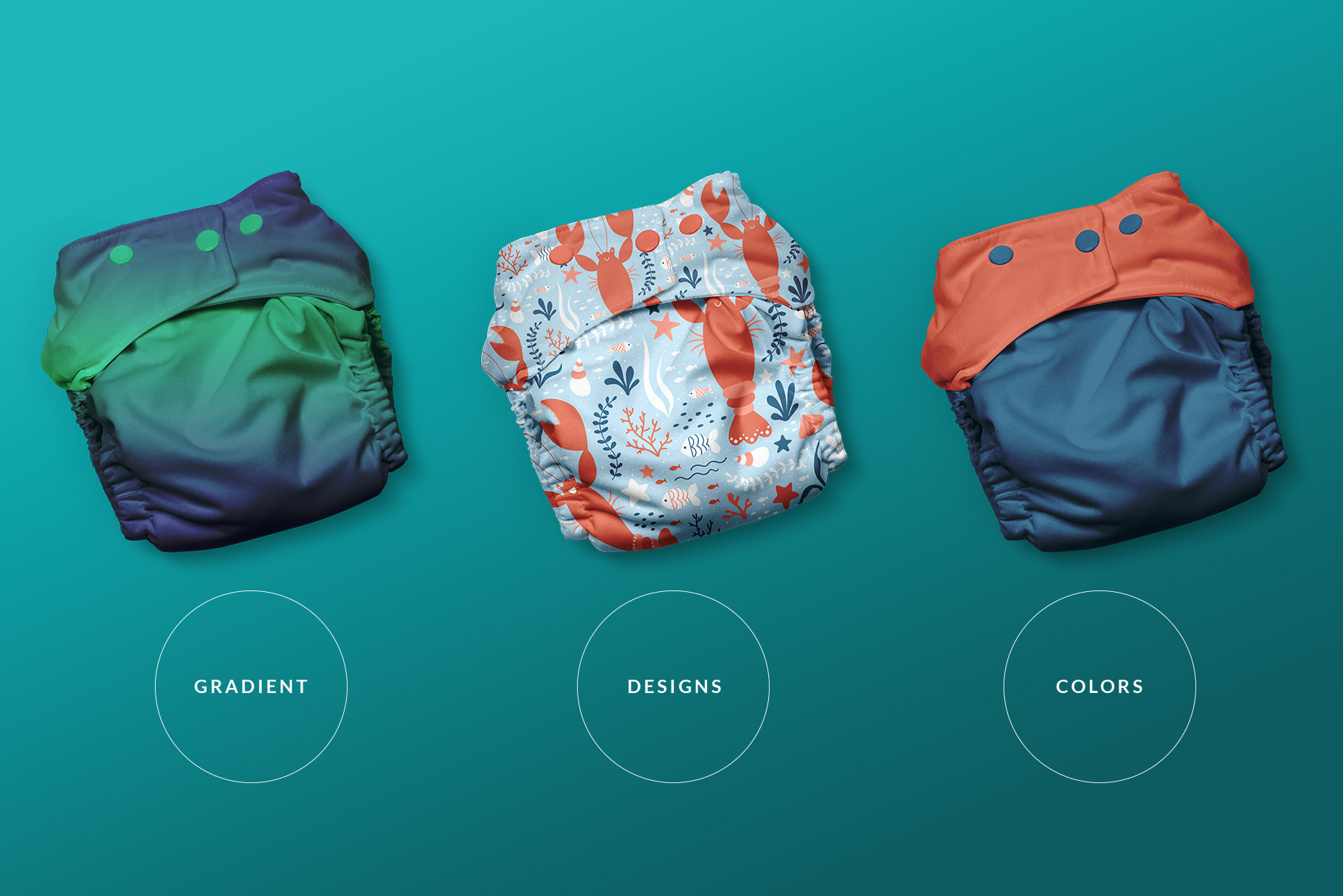 types of the reusable cloth diaper mockup