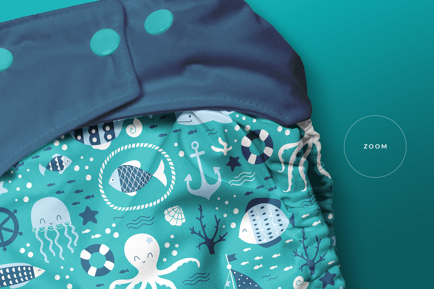 zoomed in image of the reusable cloth diaper mockup