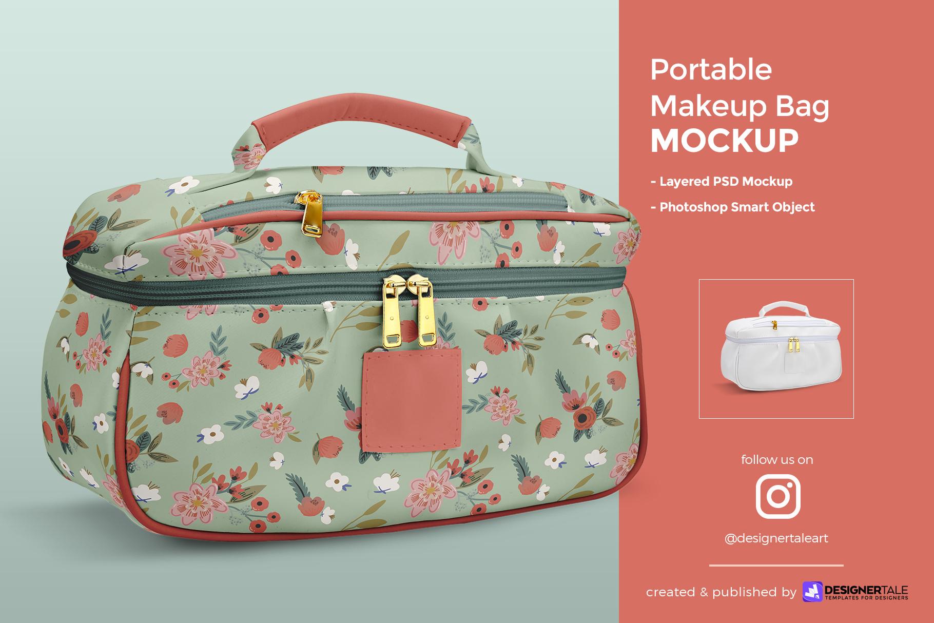 portable makeup bag mockup