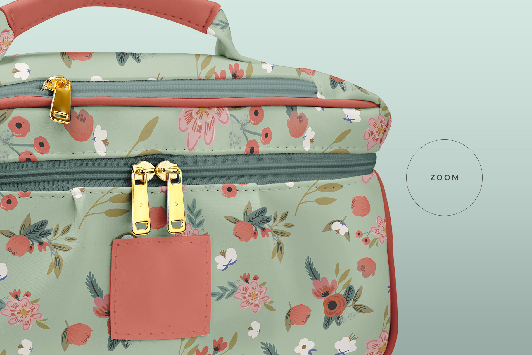 zoomed in the portable makeup bag mockup