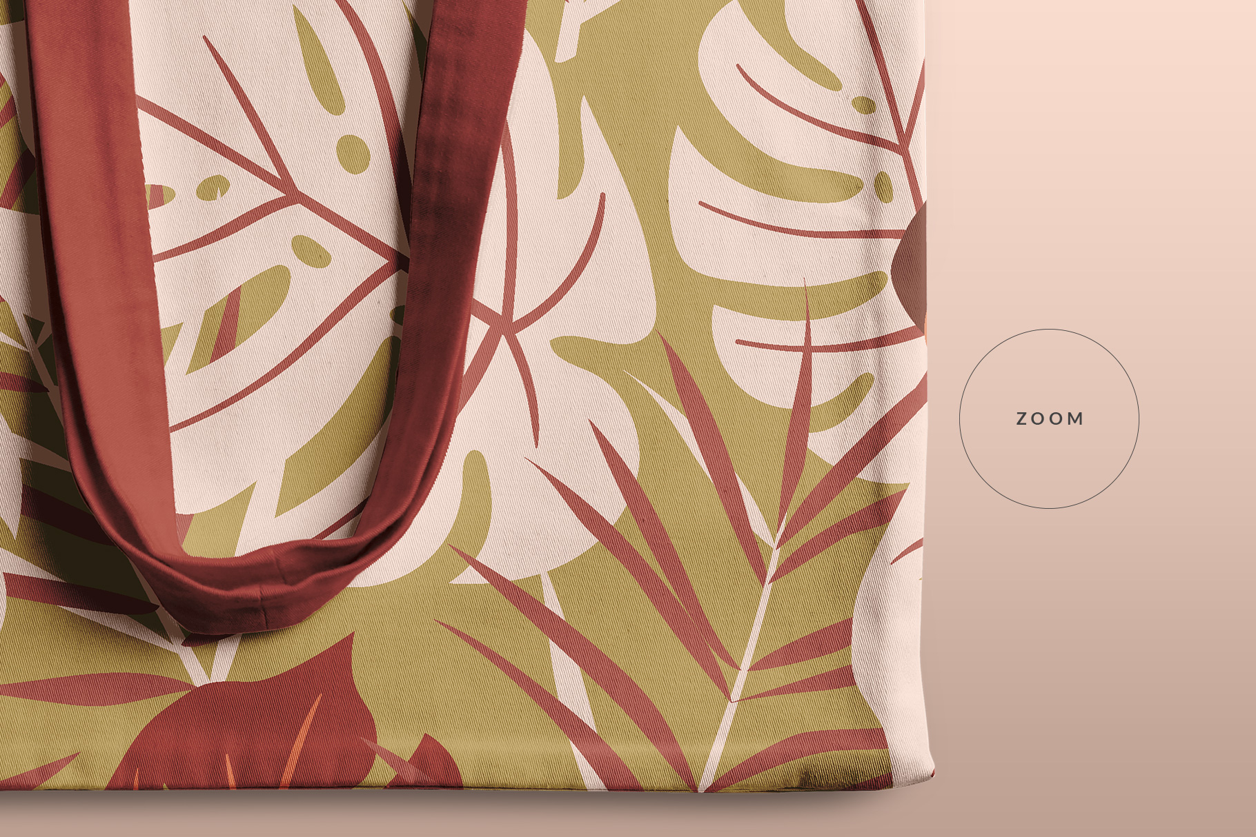 zoomed in image of the top view reusable cotton tote bag mockup