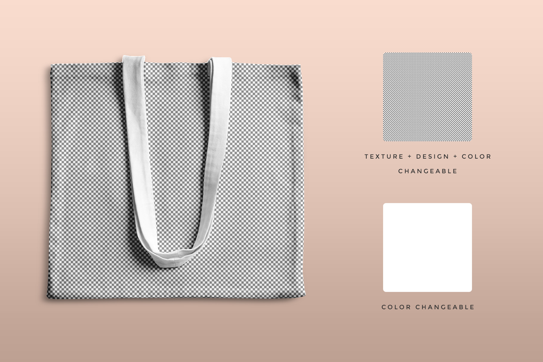 editability of the top view reusable cotton tote bag mockup