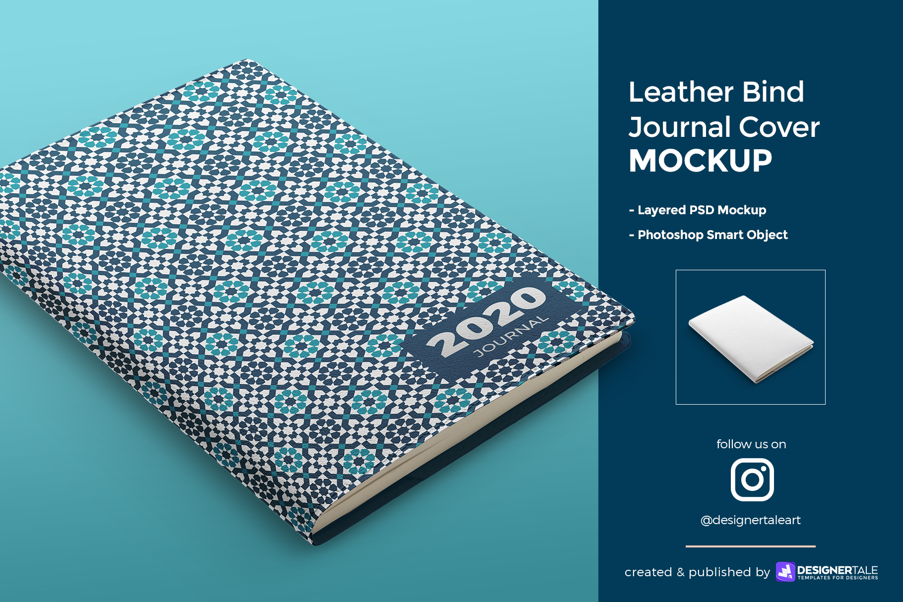 leather bind journal cover mockup