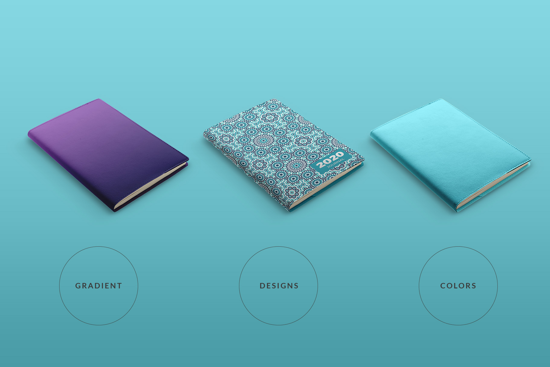 types of the leather bind journal cover mockup