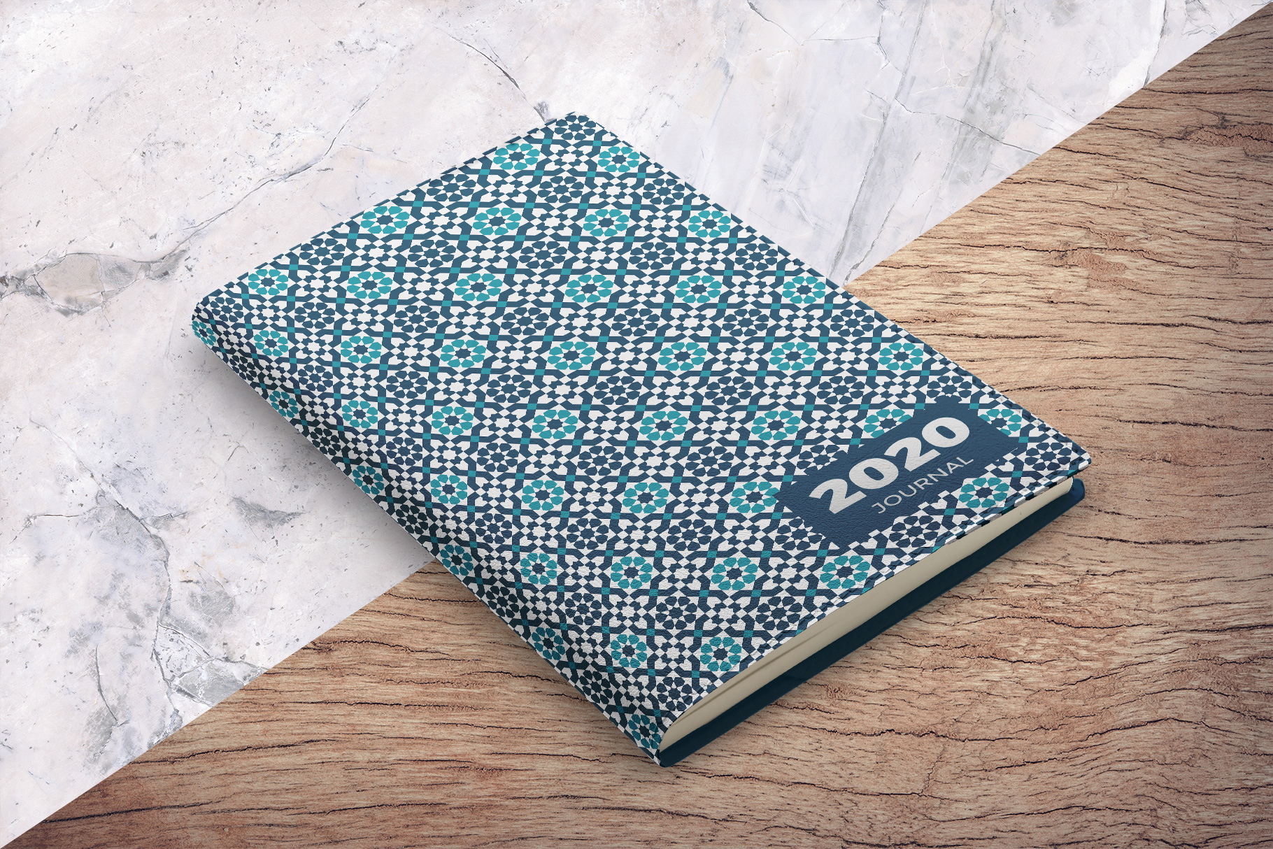 background option of the leather bind journal cover mockup