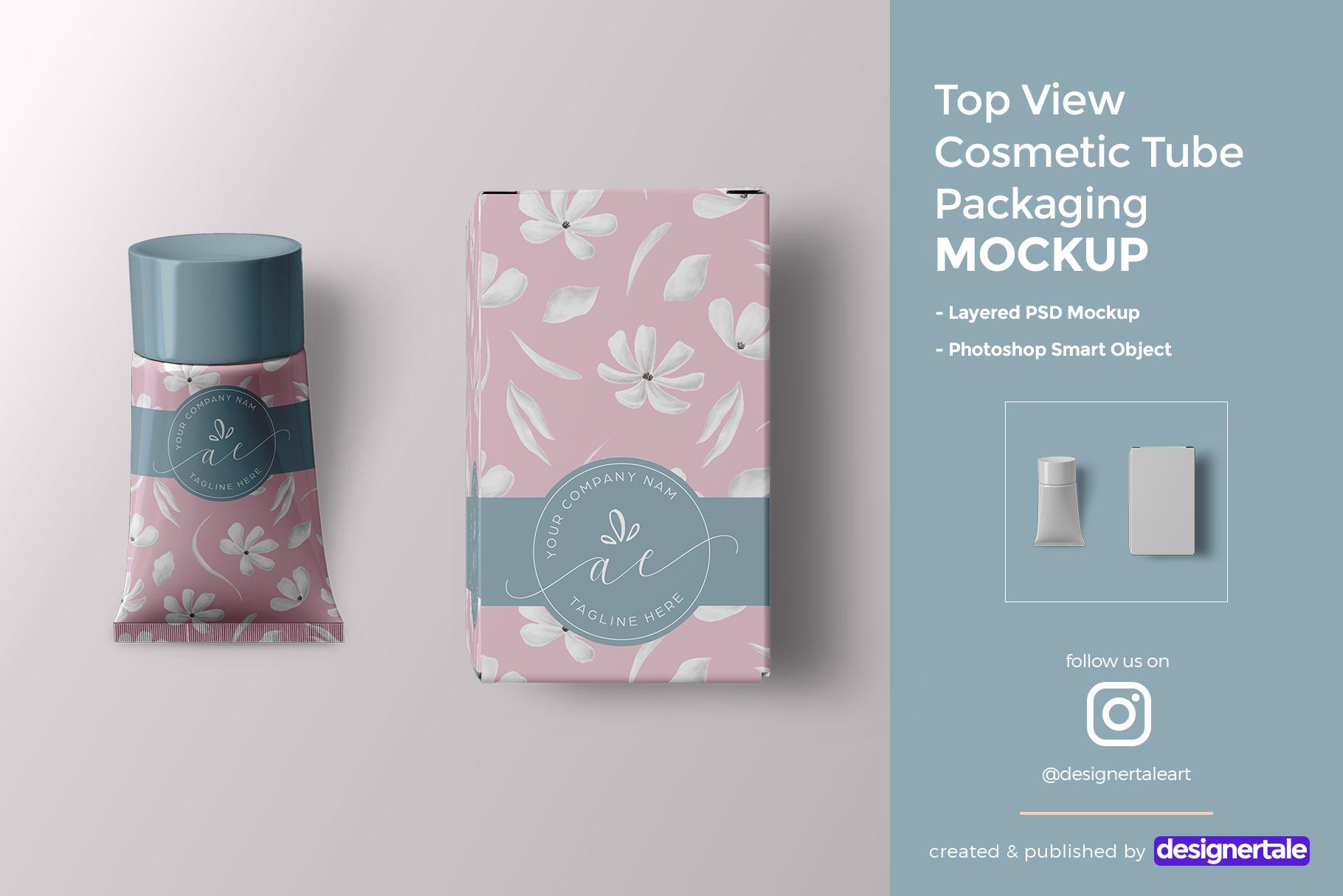 top view cosmetic tube packaging mockup
