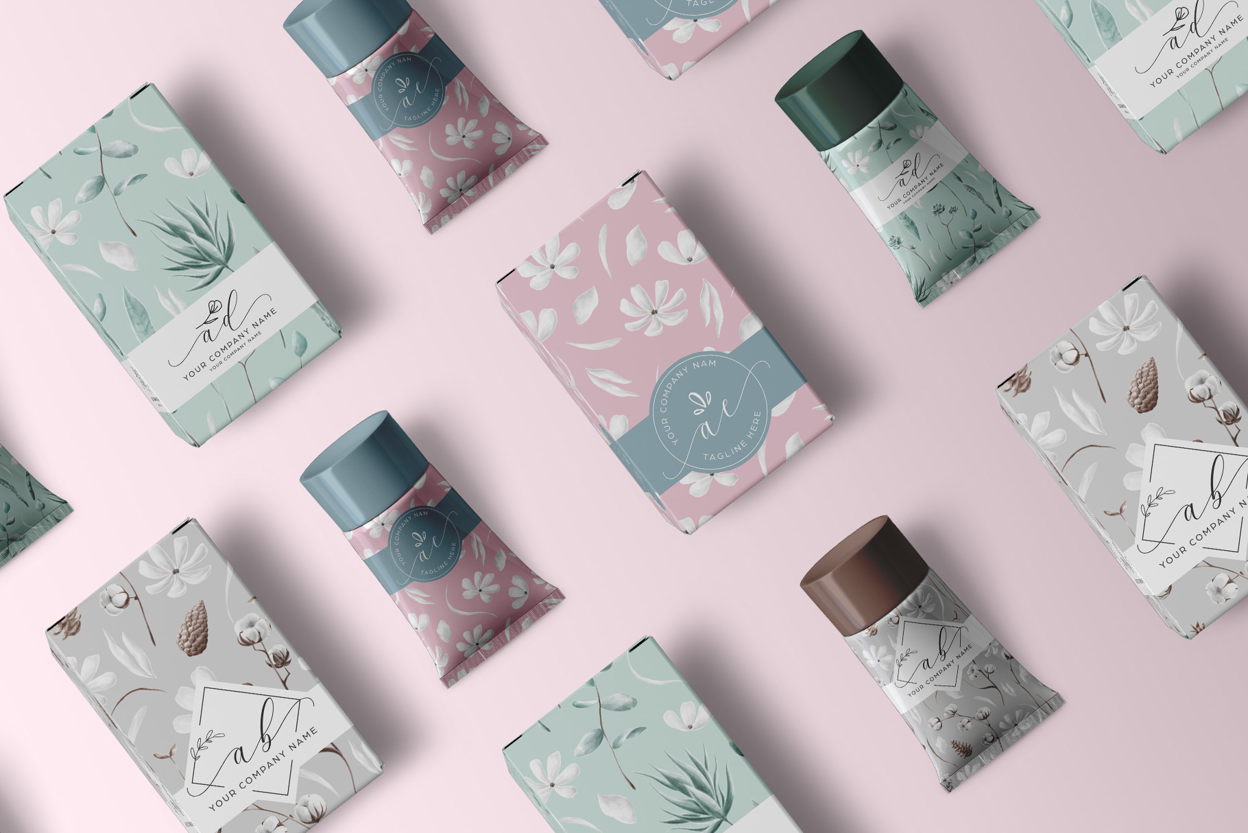 presentation of the top view cosmetic tube packaging mockup