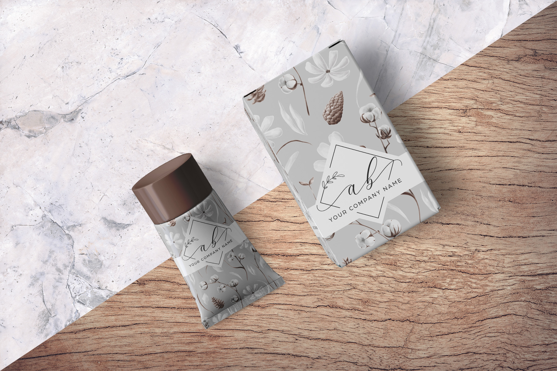 background of the top view cosmetic tube packaging mockup