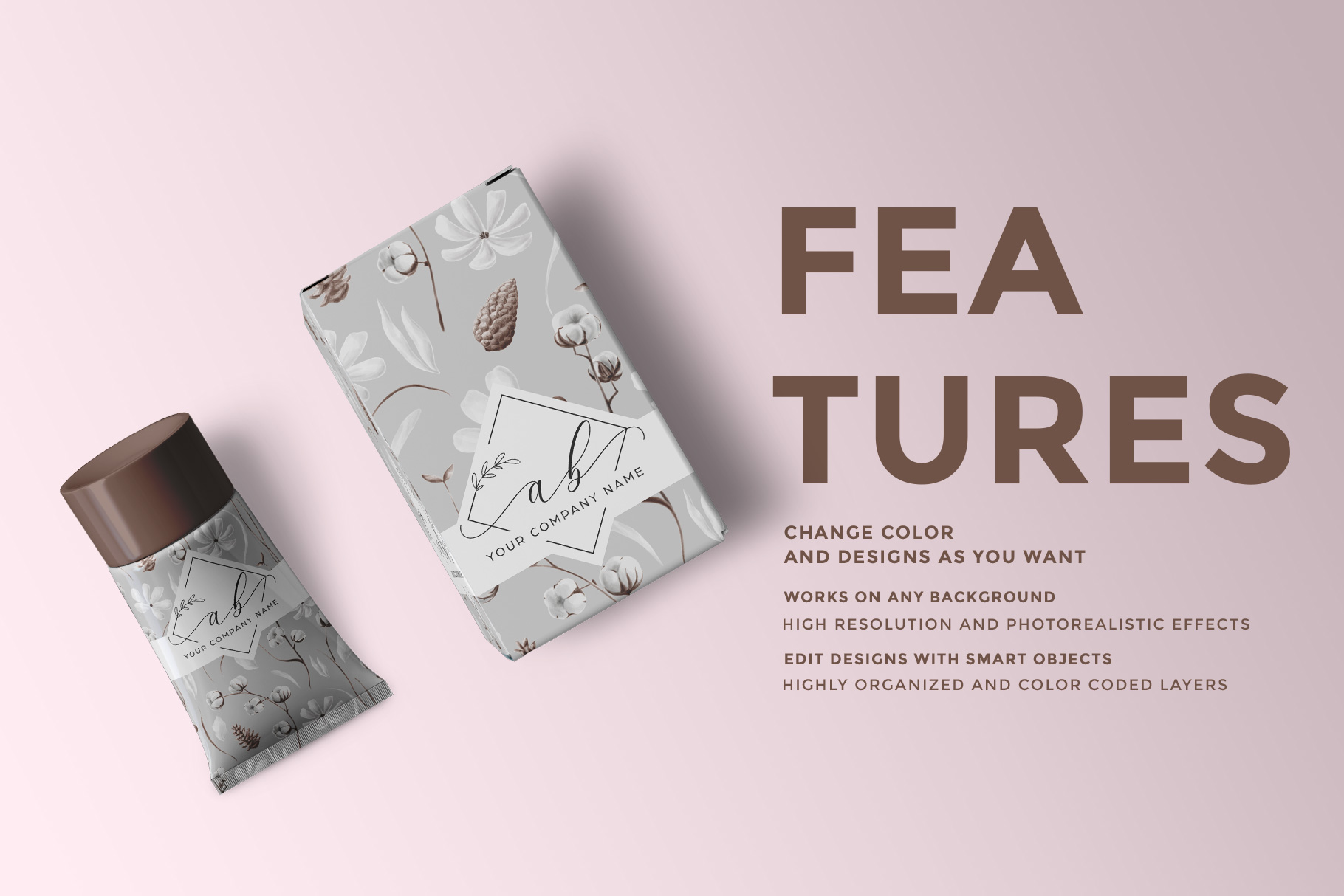 features of the top view cosmetic tube packaging mockup