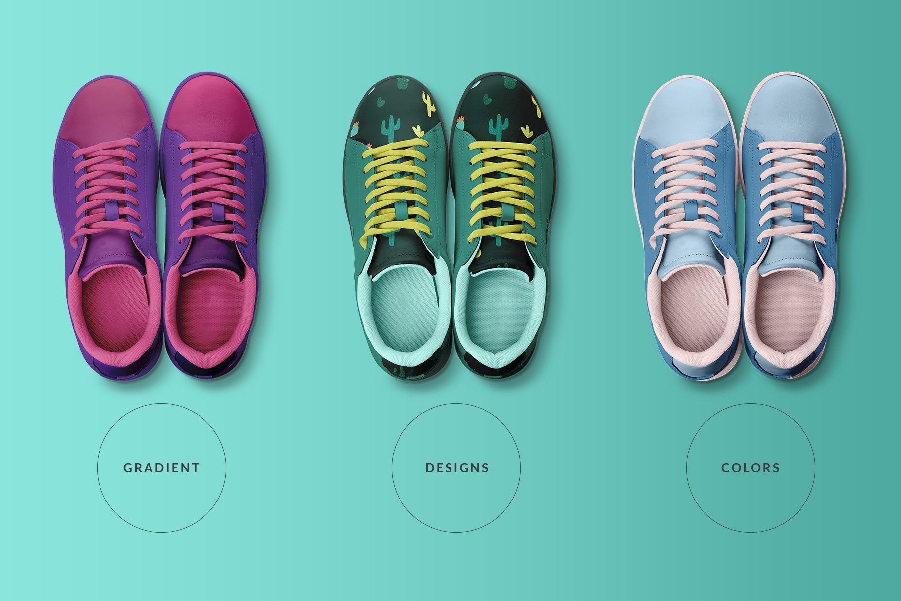 types of the top view trendy sneakers mockup