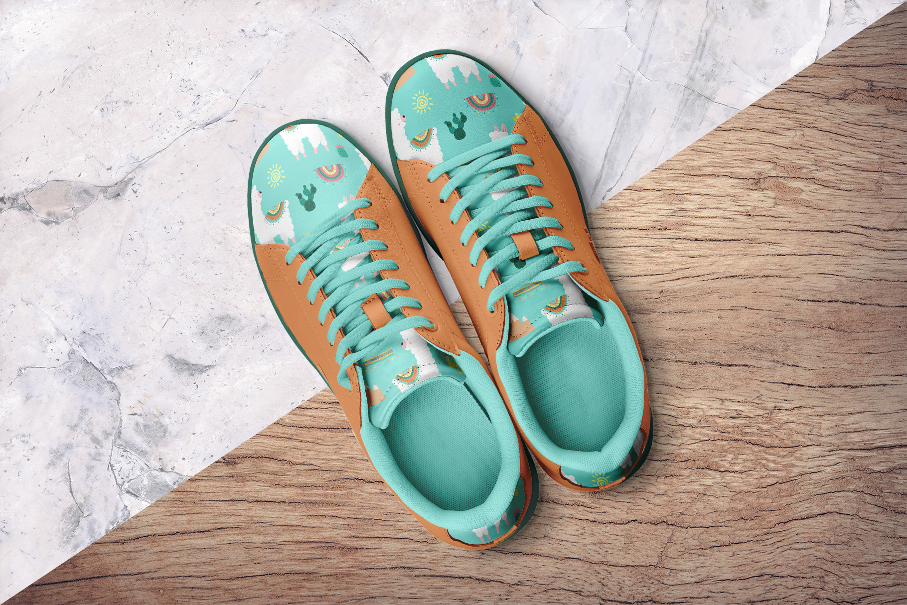background options of the top view trendy sneakers mockup