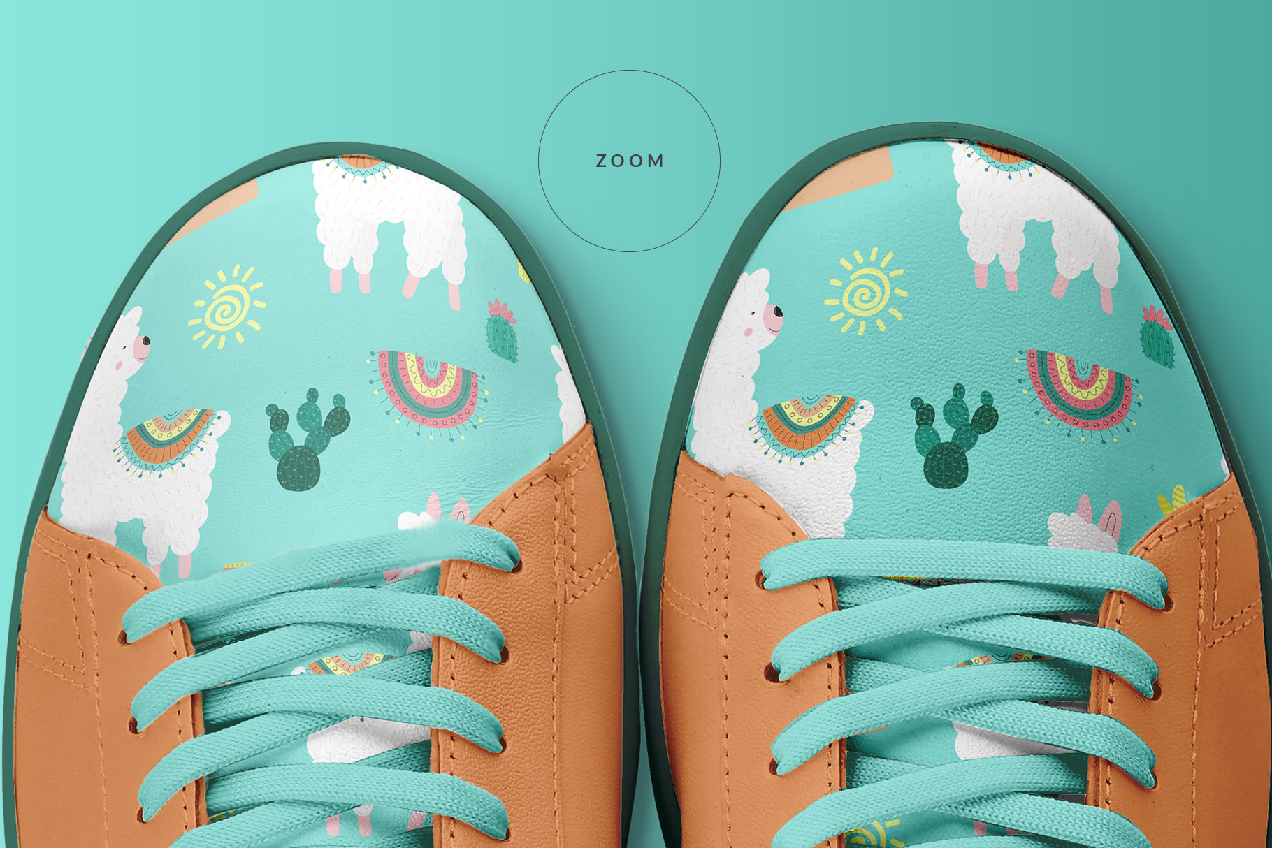 zoomed in image of the top view trendy sneakers mockup