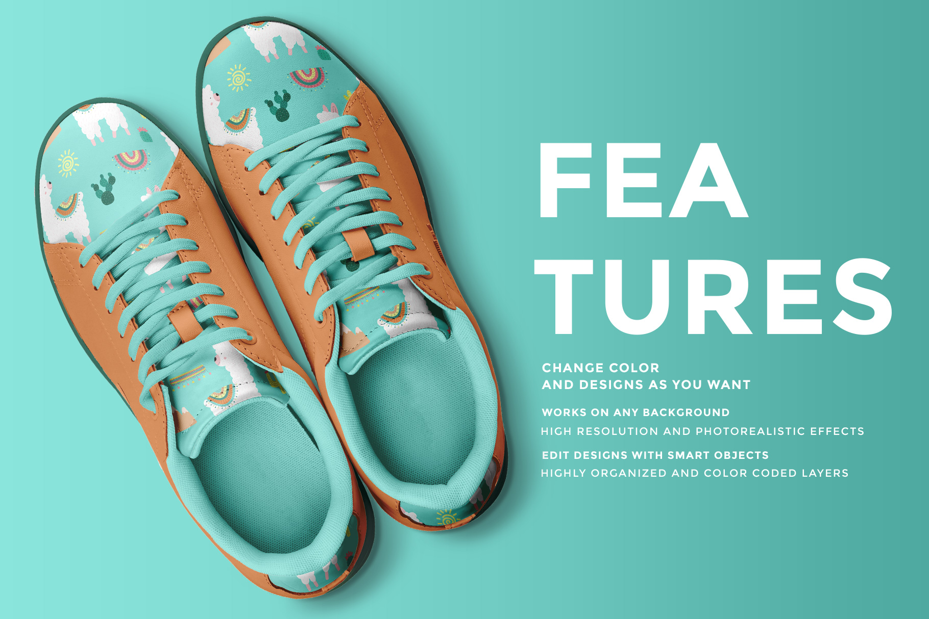 features of the top view trendy sneakers mockup