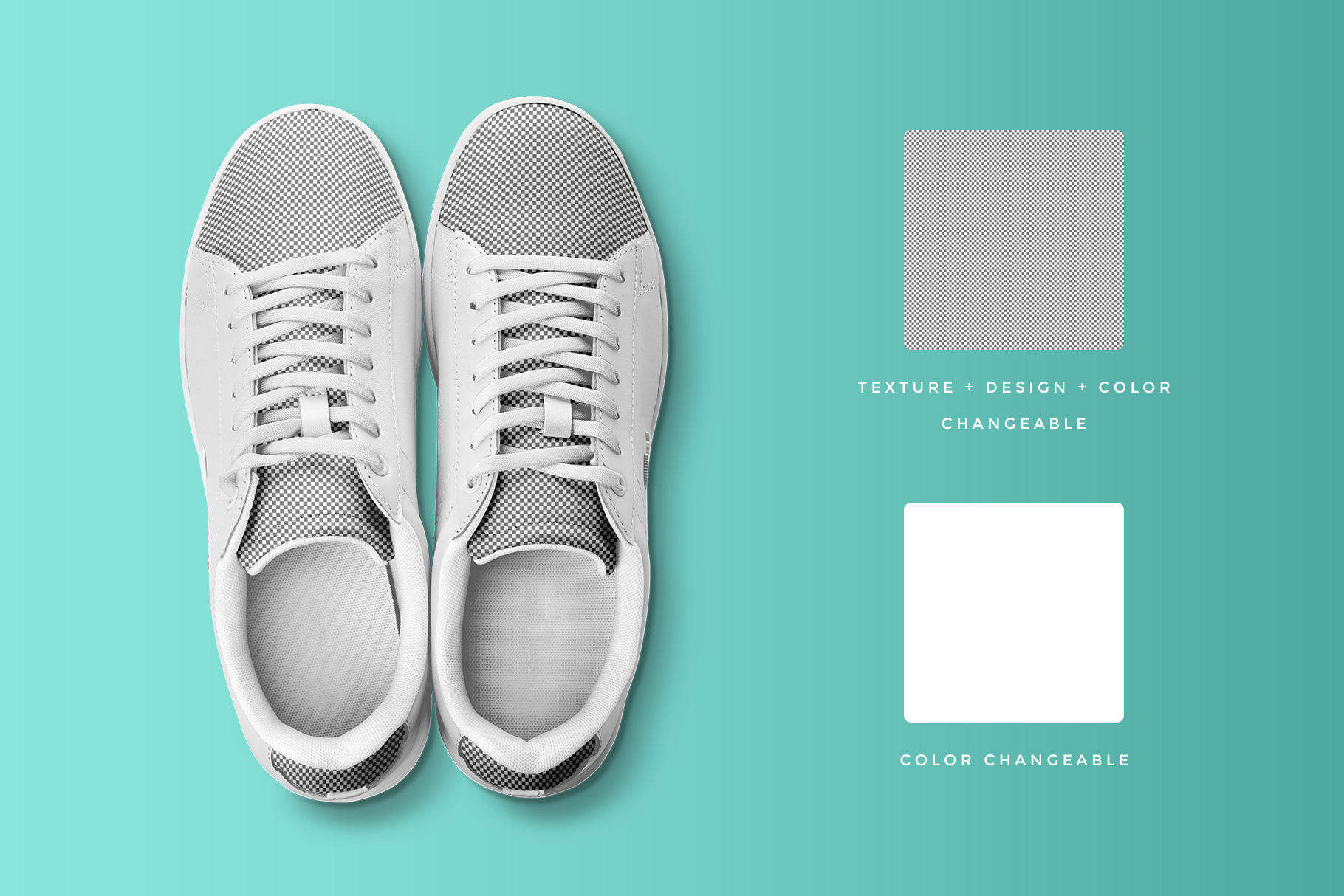 editability of the top view trendy sneakers mockup