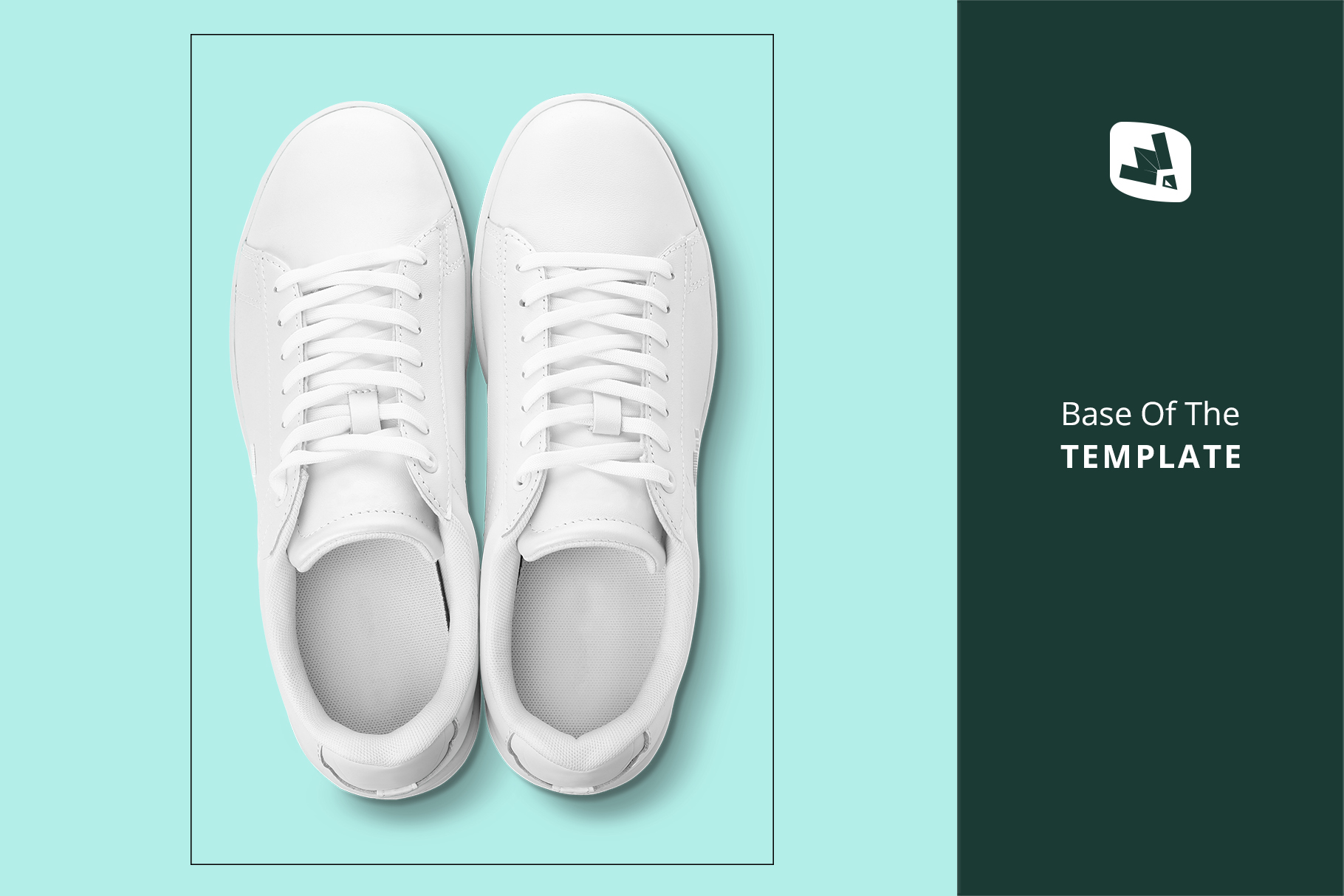 base image of the top view trendy sneakers mockup