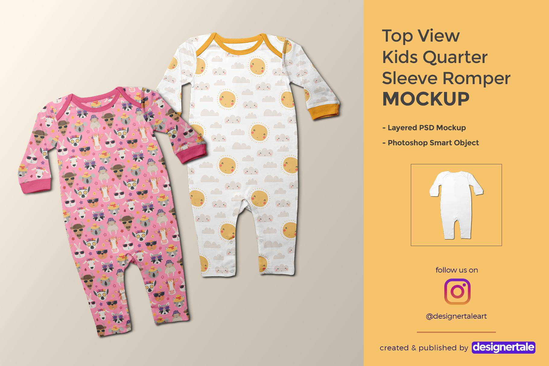 top view kids quarter sleeve romper mockup