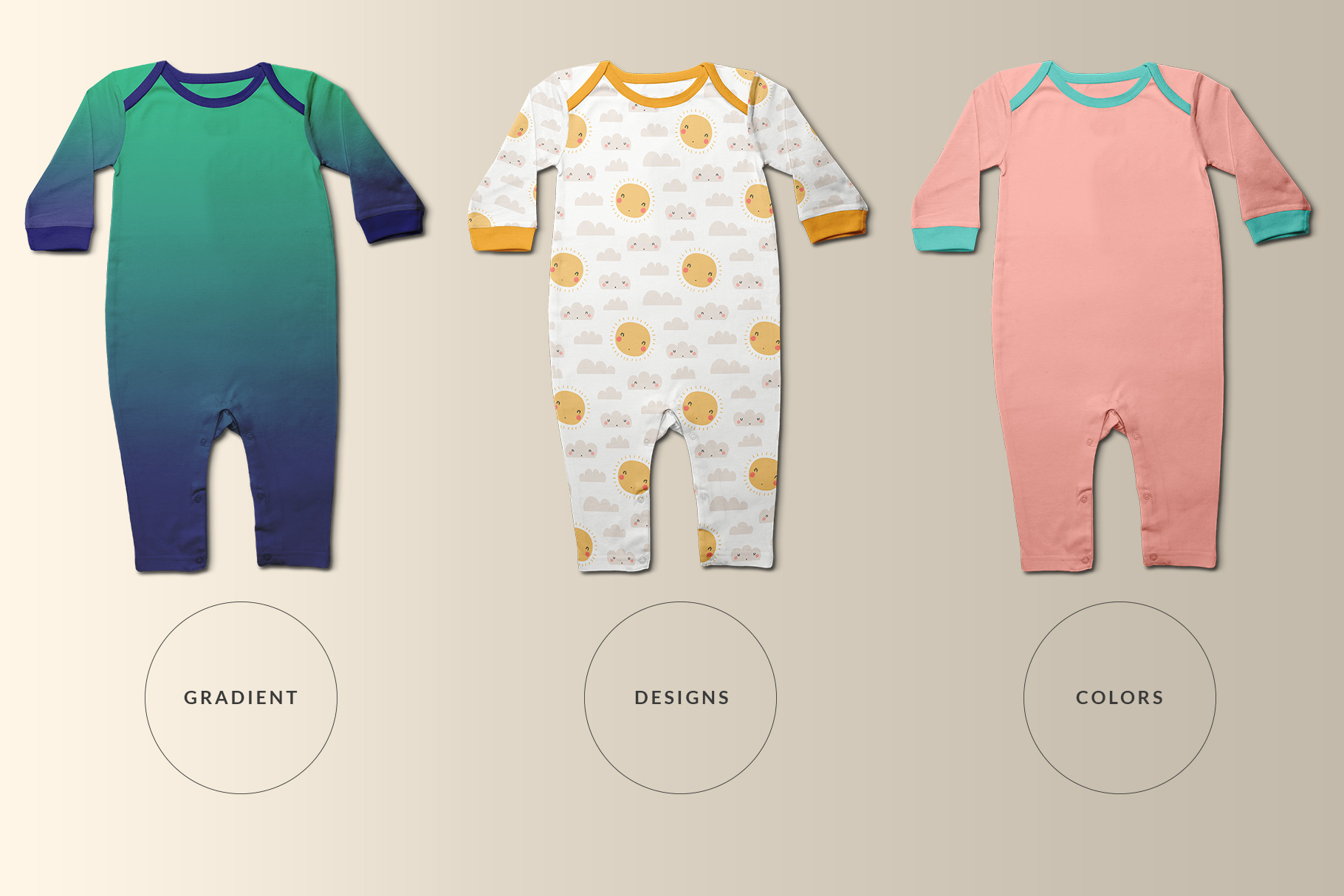 types of the top view kids quarter sleeve romper mockup