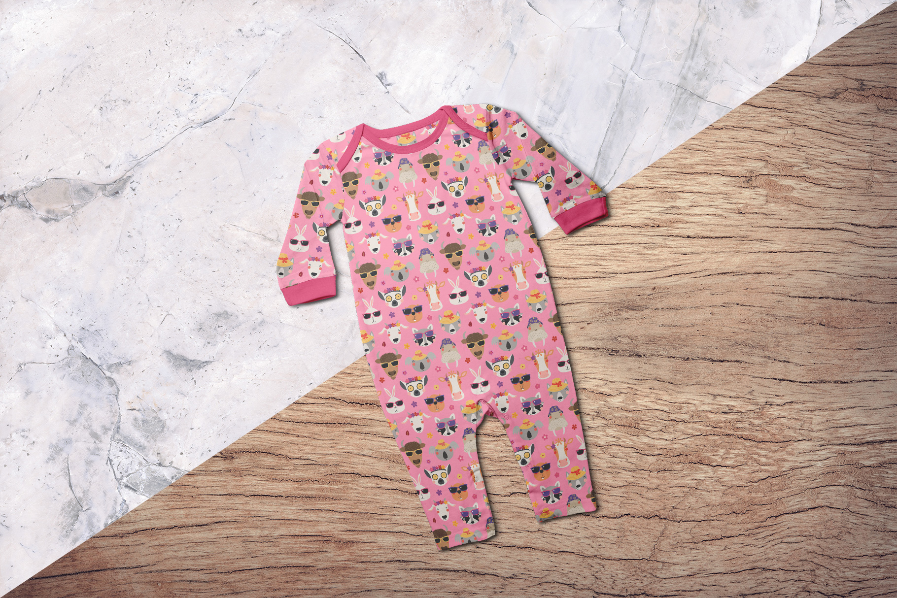 background options of the top view kids quarter sleeve romper mockup