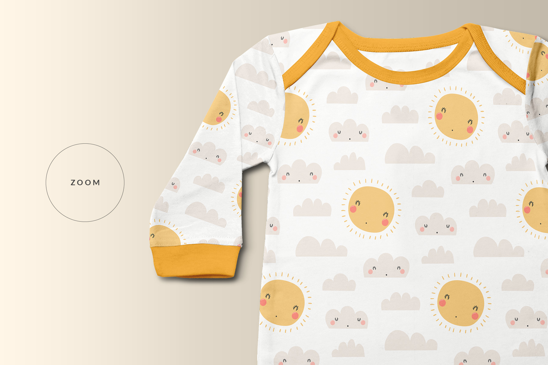 zoomed in image of the top view kids quarter sleeve romper mockup