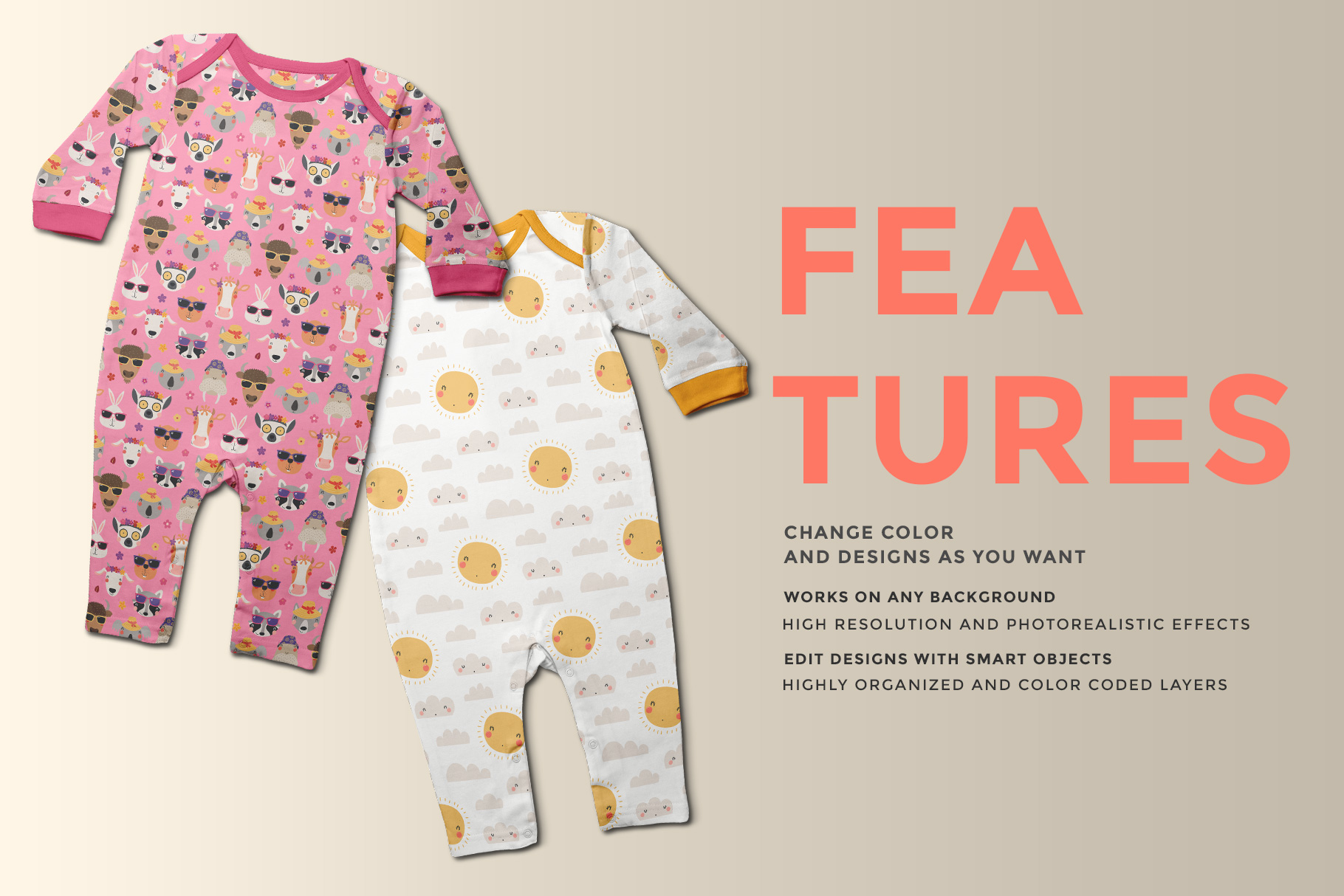 features of the top view kids quarter sleeve romper mockup