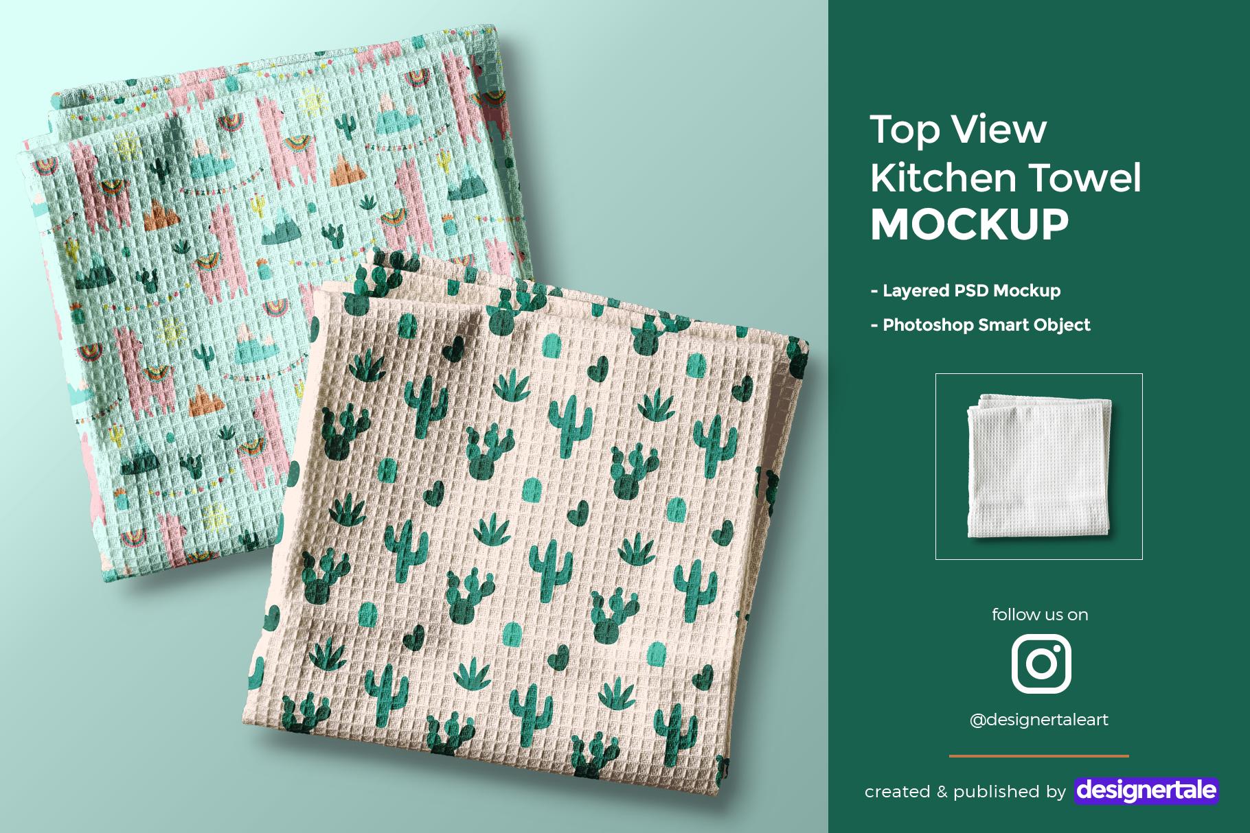 top view kitchen towel mockup
