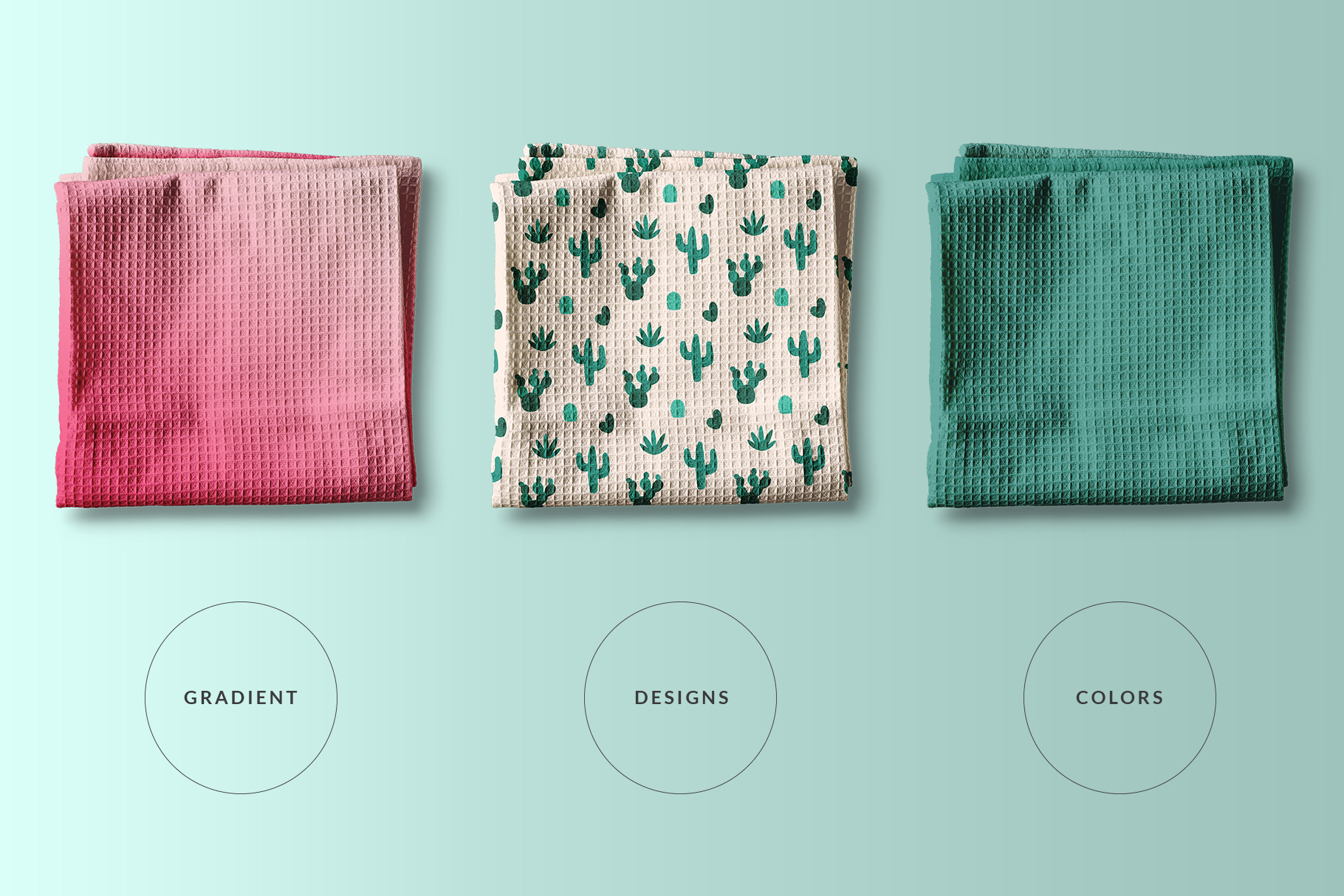types of the top view kitchen towel mockup