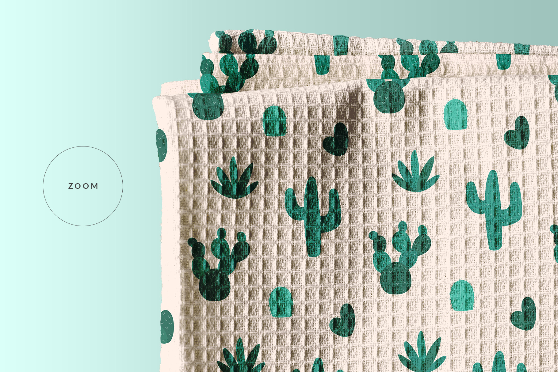 zoomed in image of the top view kitchen towel mockup