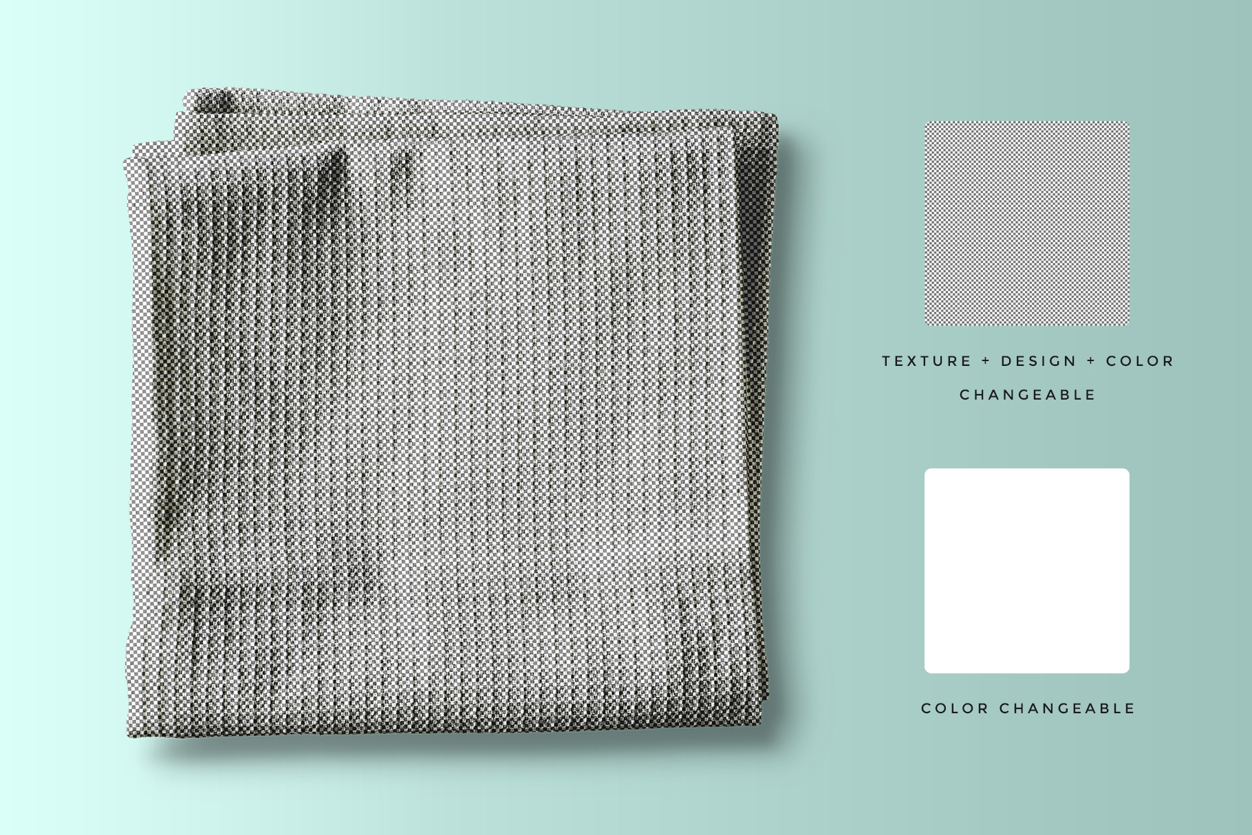 editability of the top view kitchen towel mockup
