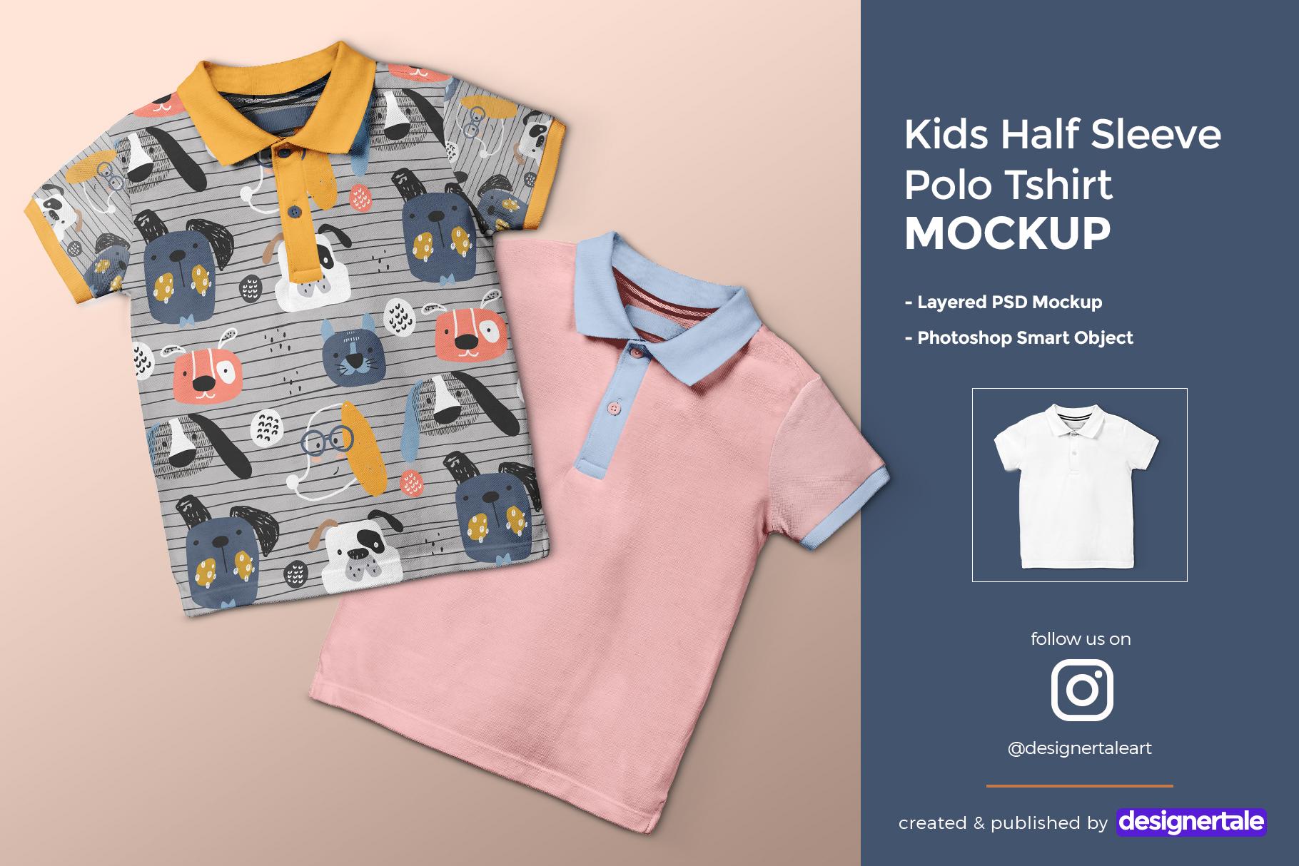 kid's half sleeve polo tshirt mockup