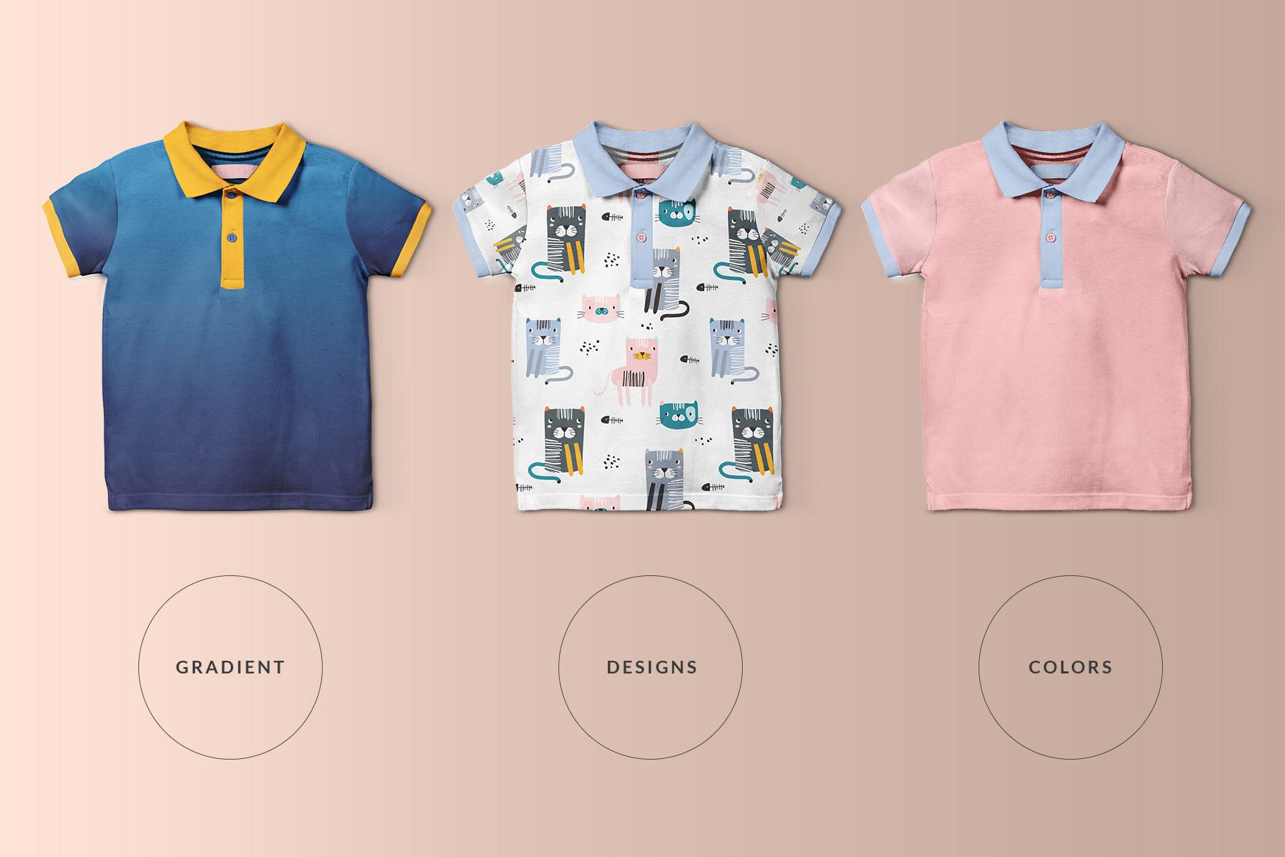 types of the kid's half sleeve polo tshirt mockup