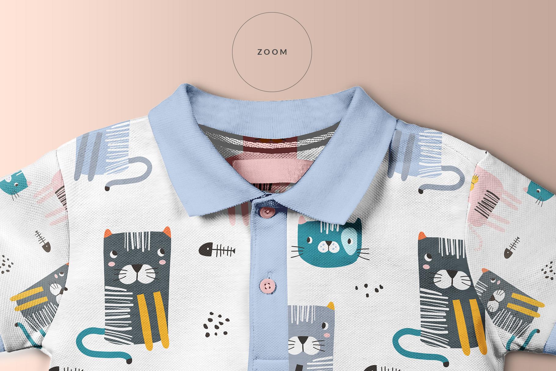 zoomed in image of the kid's half sleeve polo tshirt mockup