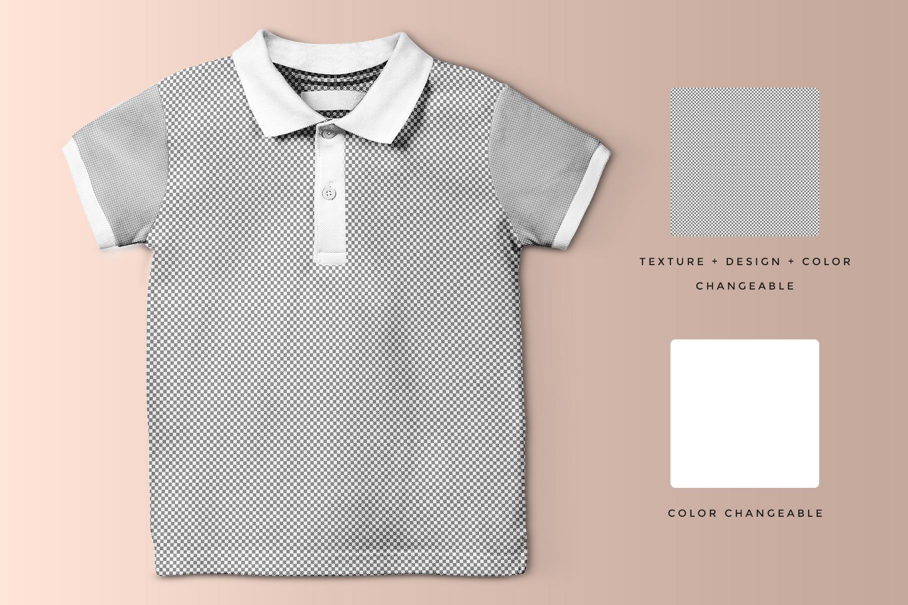 editability of the kid's half sleeve polo tshirt mockup