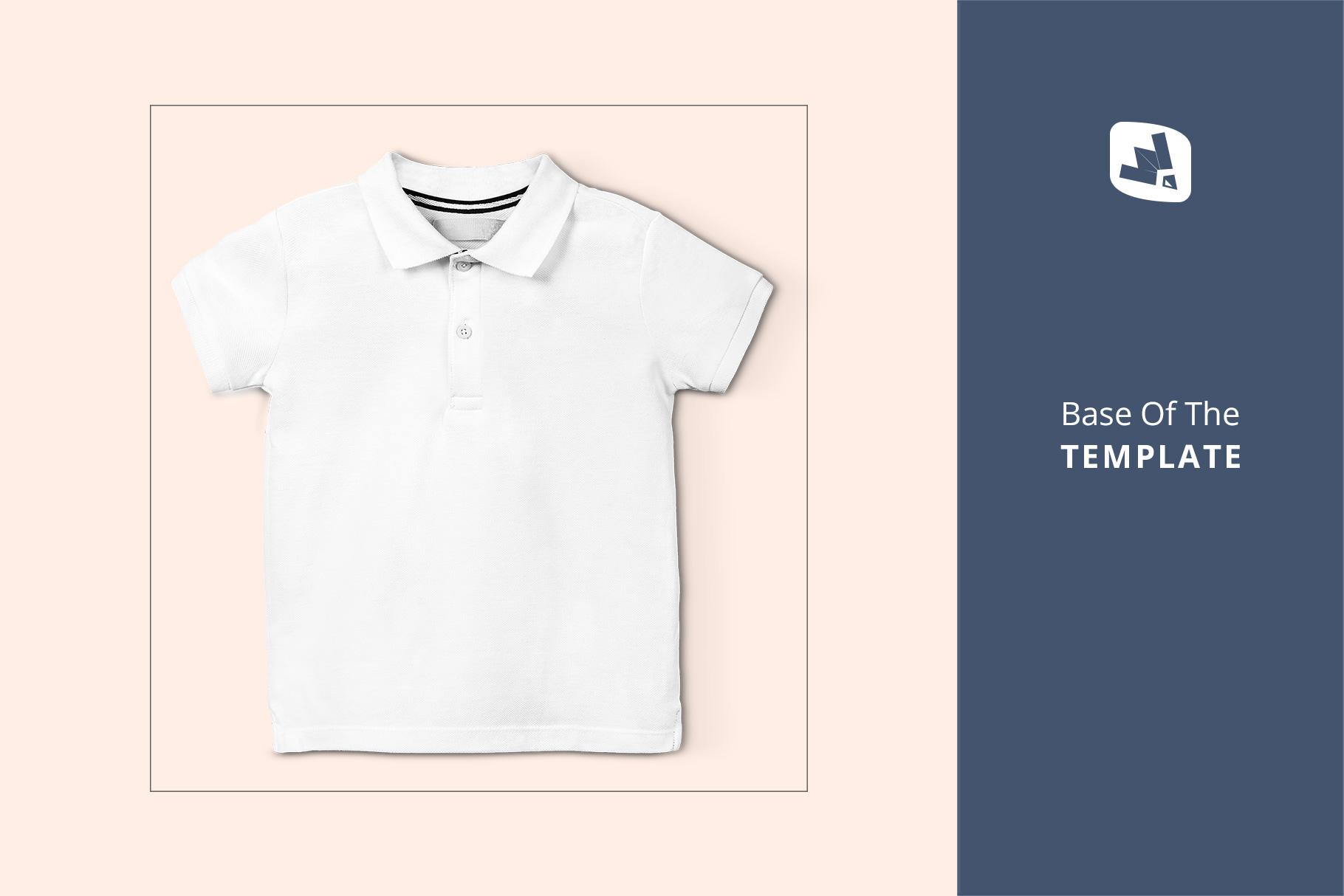 base image of the kid's half sleeve polo tshirt mockup