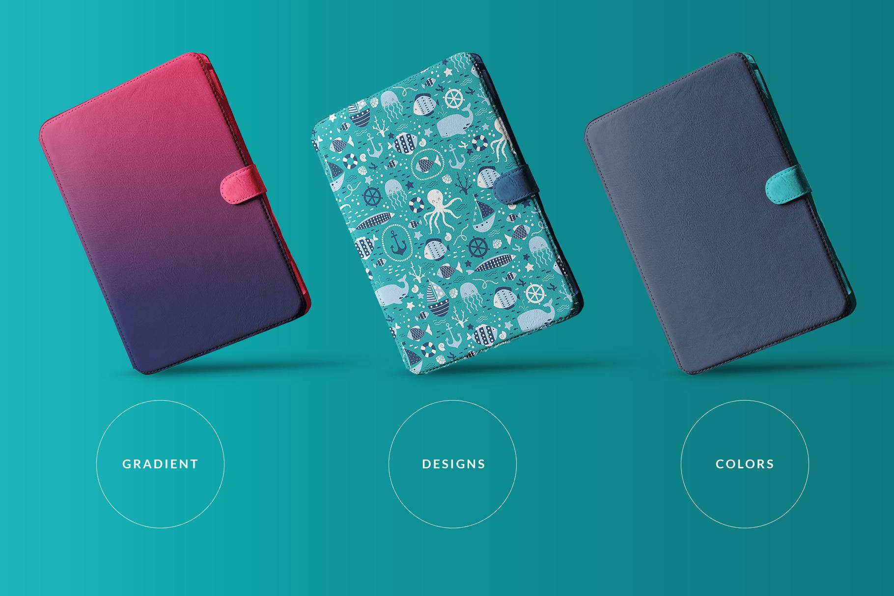 types of the iPad diary case mockup