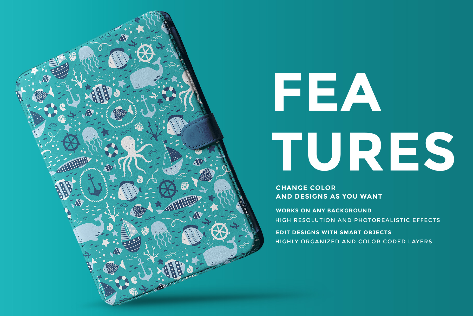 features of the iPad diary case mockup